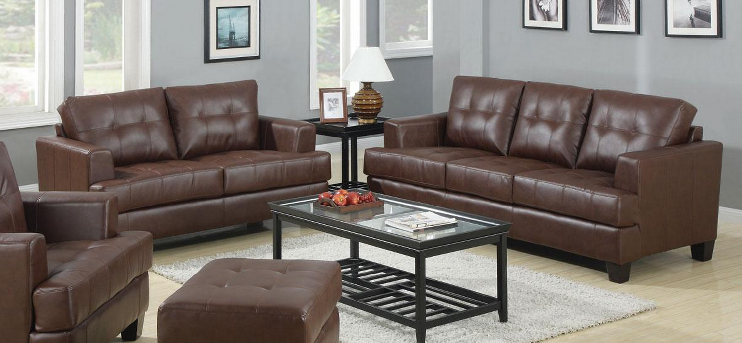 Coaster samuel dark brown sofa loveseat set dallas tx Living room furniture dallas