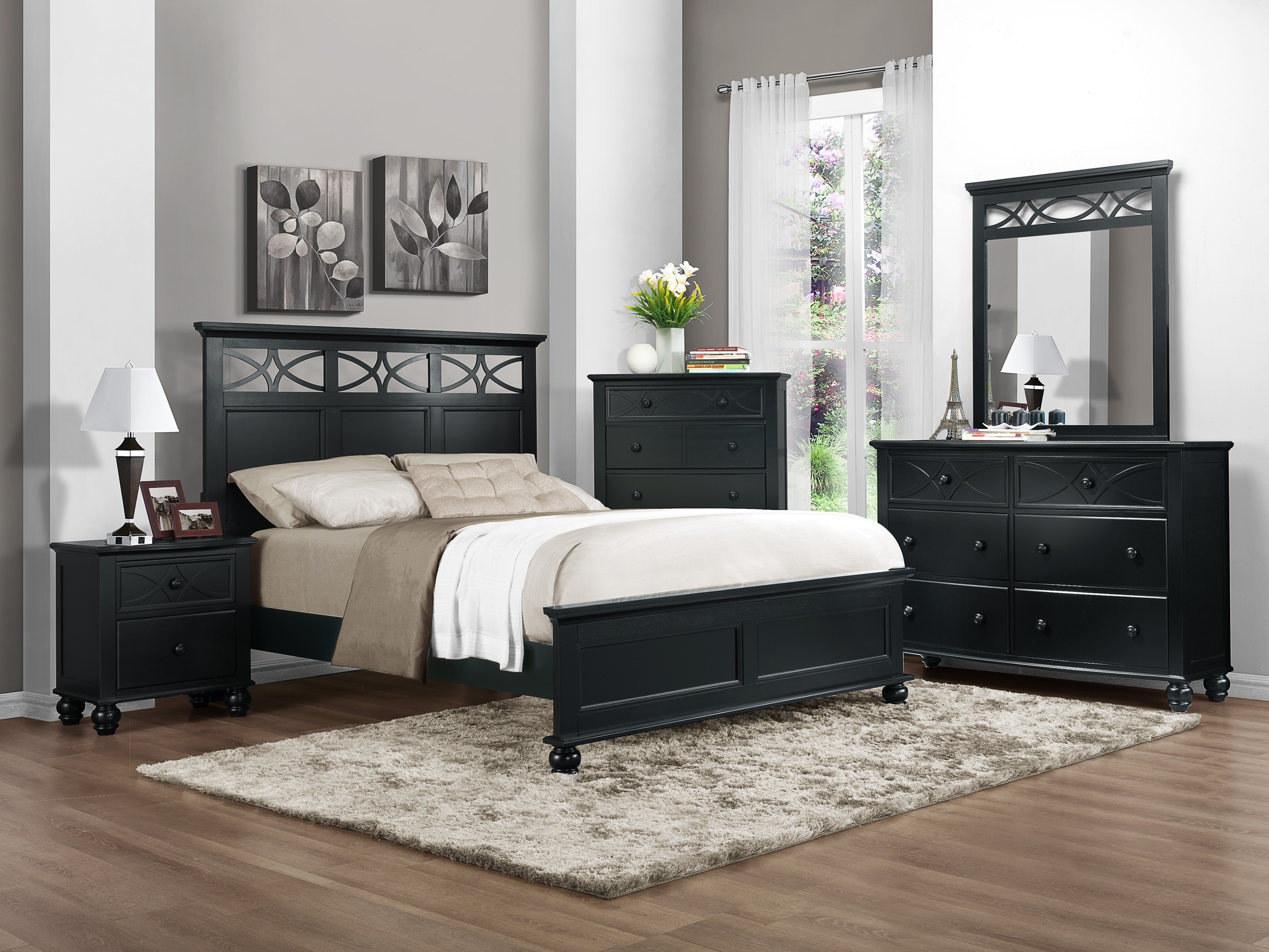 black bedroom furniture sets king | Homelegance Sanibel Black King 5pc Bedroom Set Dallas TX ...