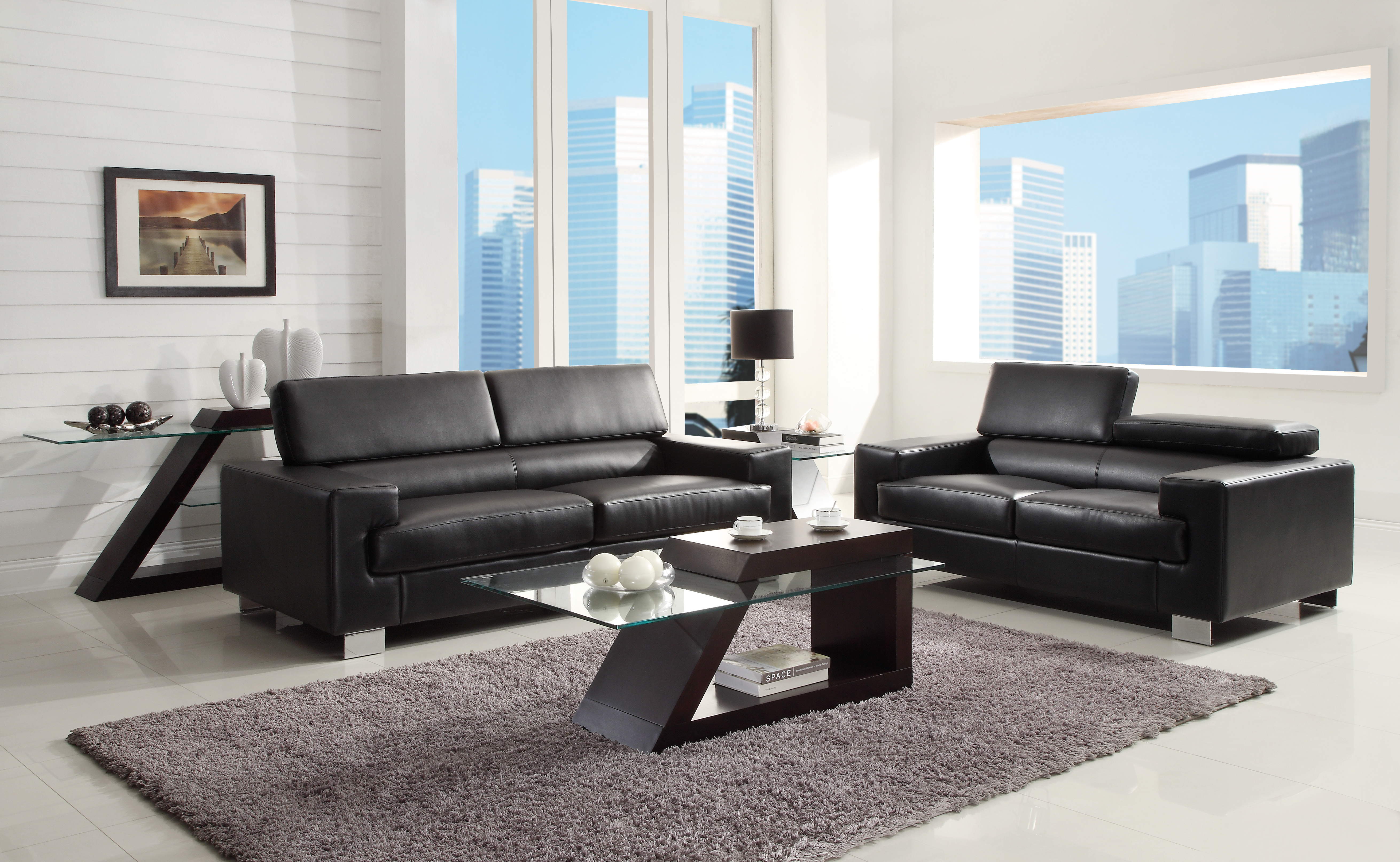 home living room living room set vernon black sofa loveseat set