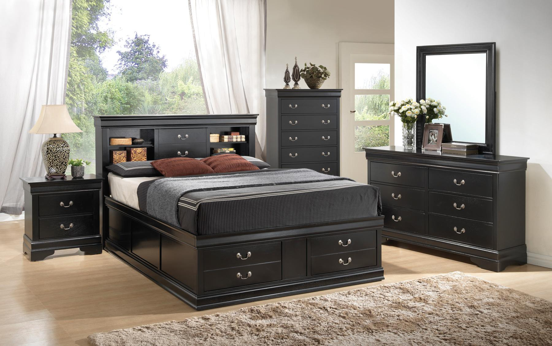 Coaster Louis Philippe Black Queen 5pc Storage Bedroom Set Dallas Tx Bedroom Group Furniture