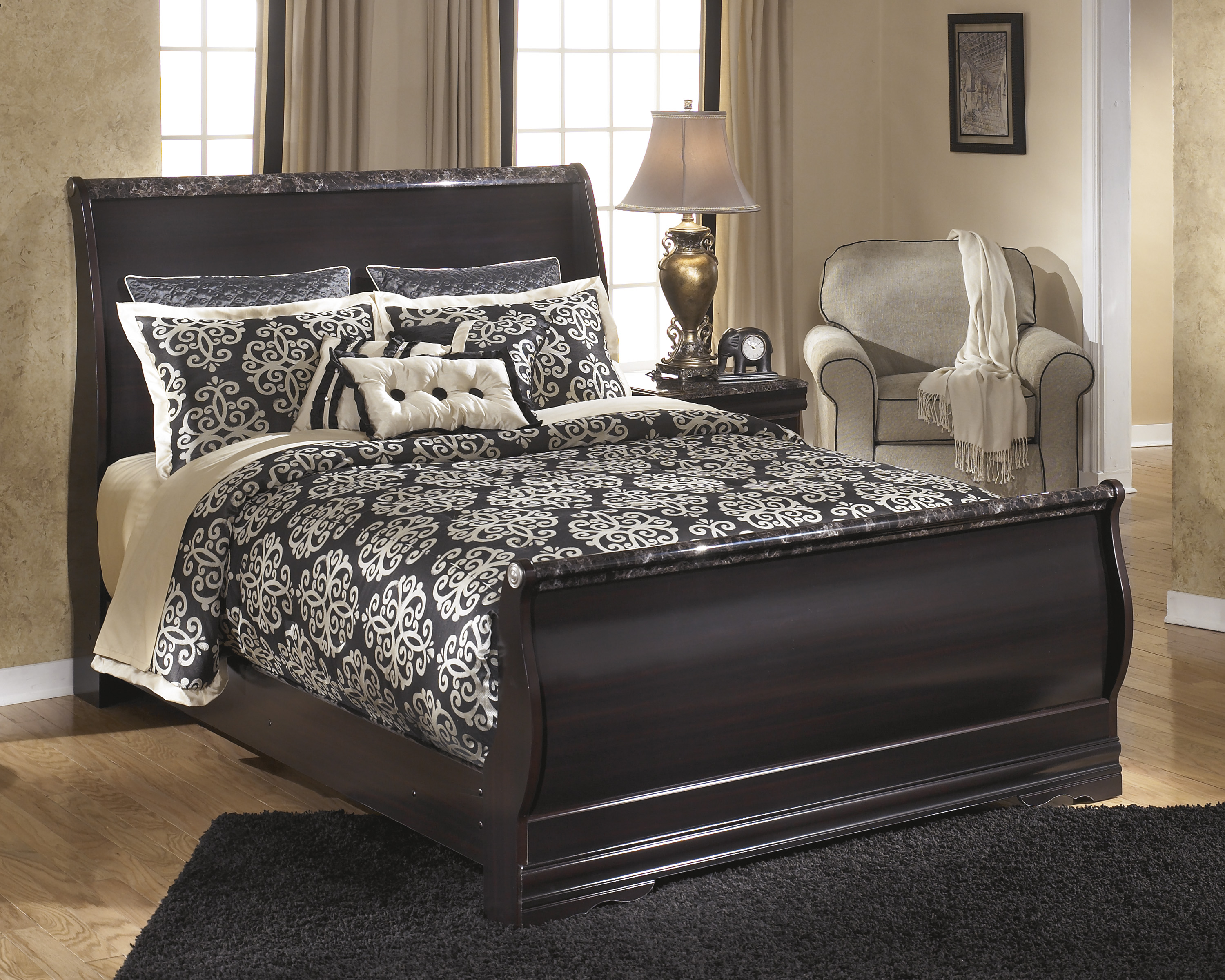 Ashley Esmarelda King Sleigh Bed Dallas Tx Bedroom Bed