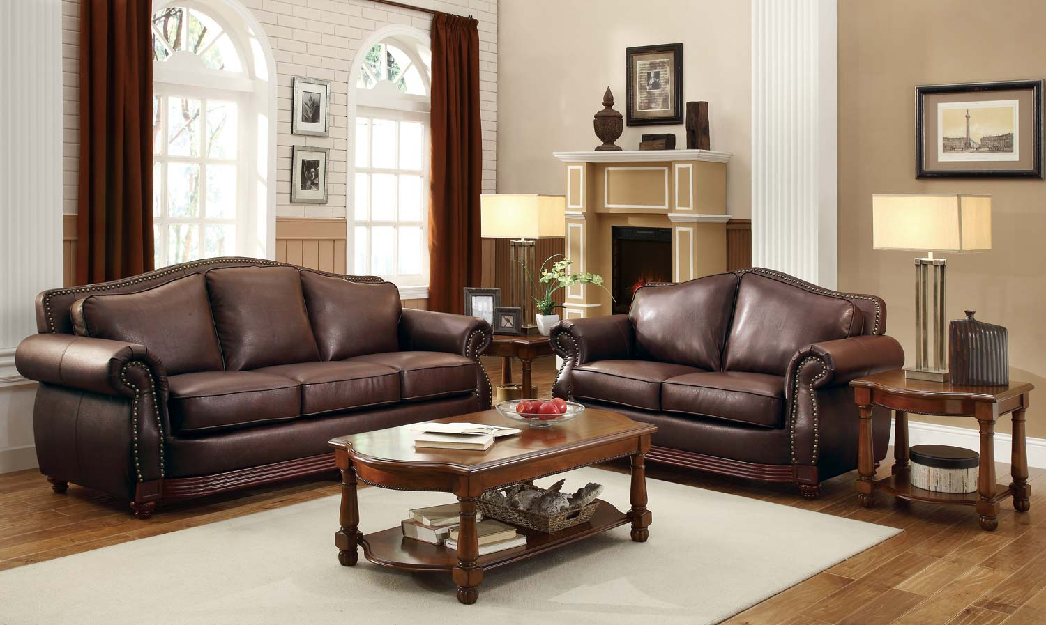 Homelegance midwood 2pc brown sofa loveseat set dallas Living room furniture dallas