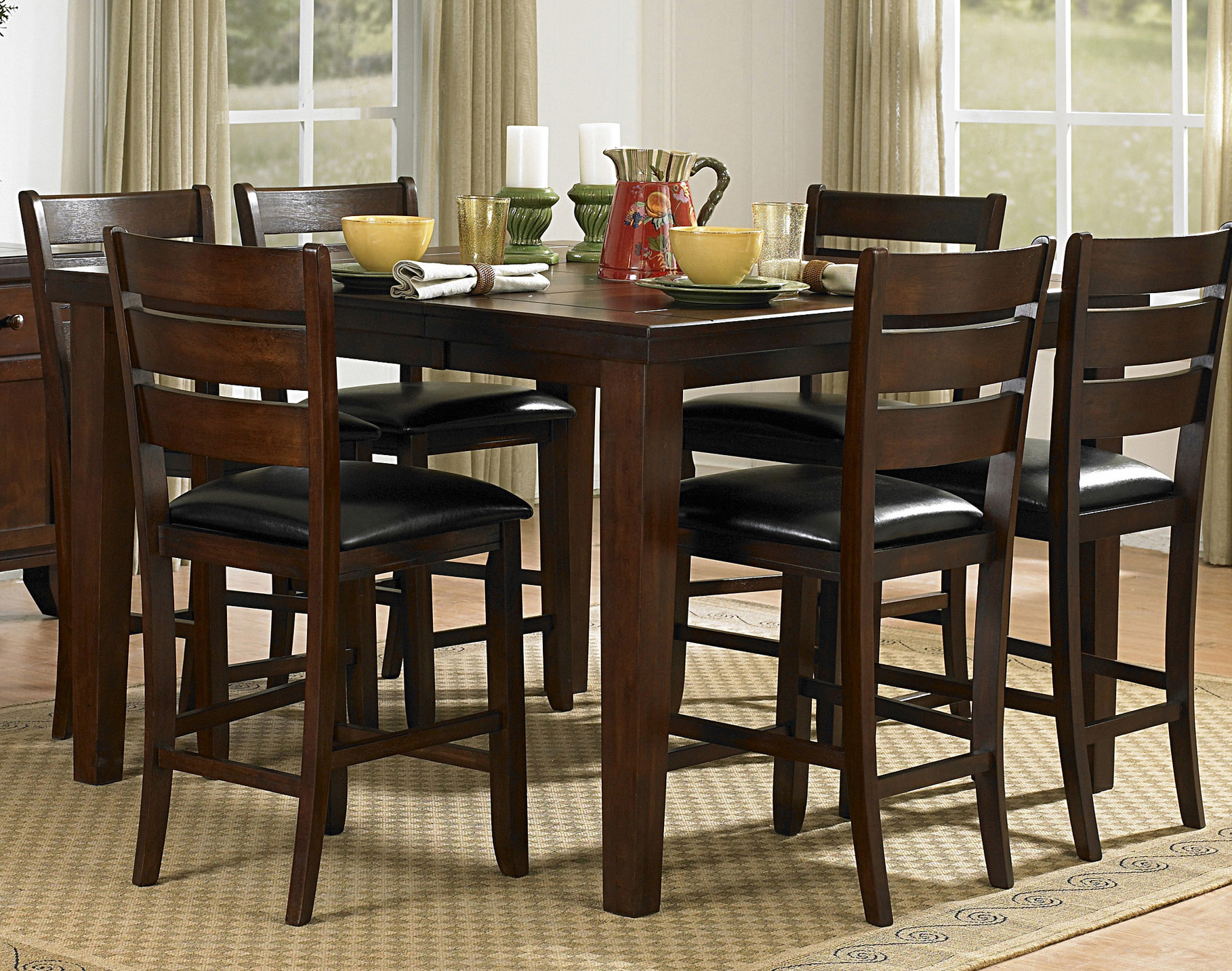 Homelegance ameillia 5pc counter height dining room set for Counter height dining set