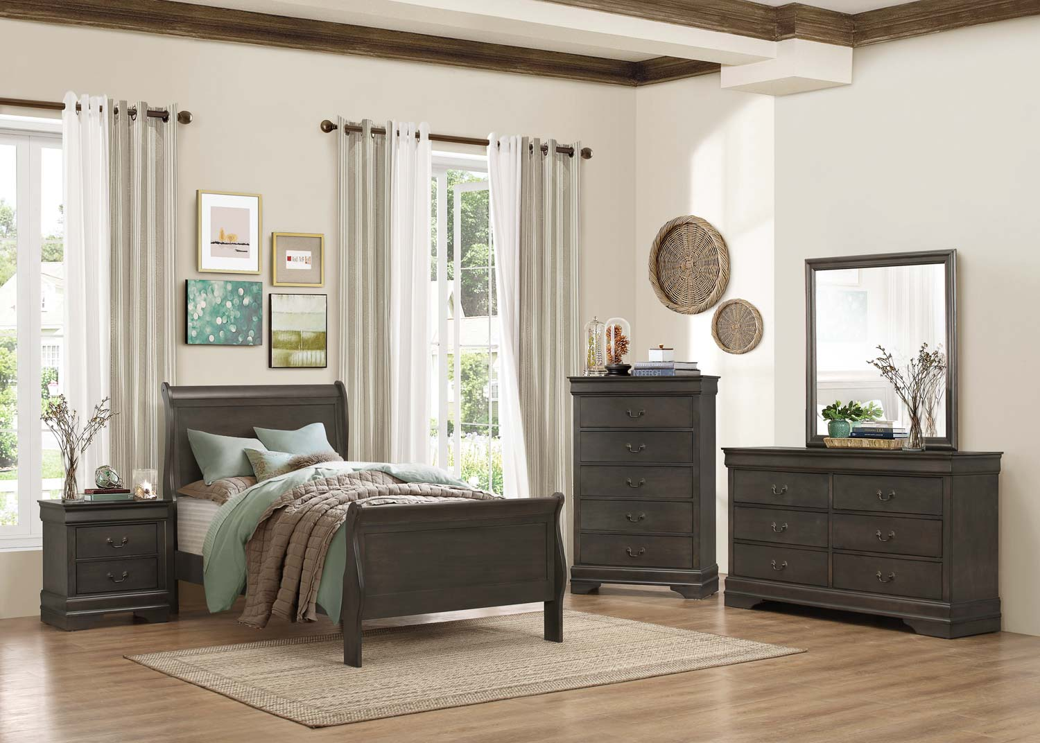 Homelegance Mayville 5pc Grey Twin Bedroom Group