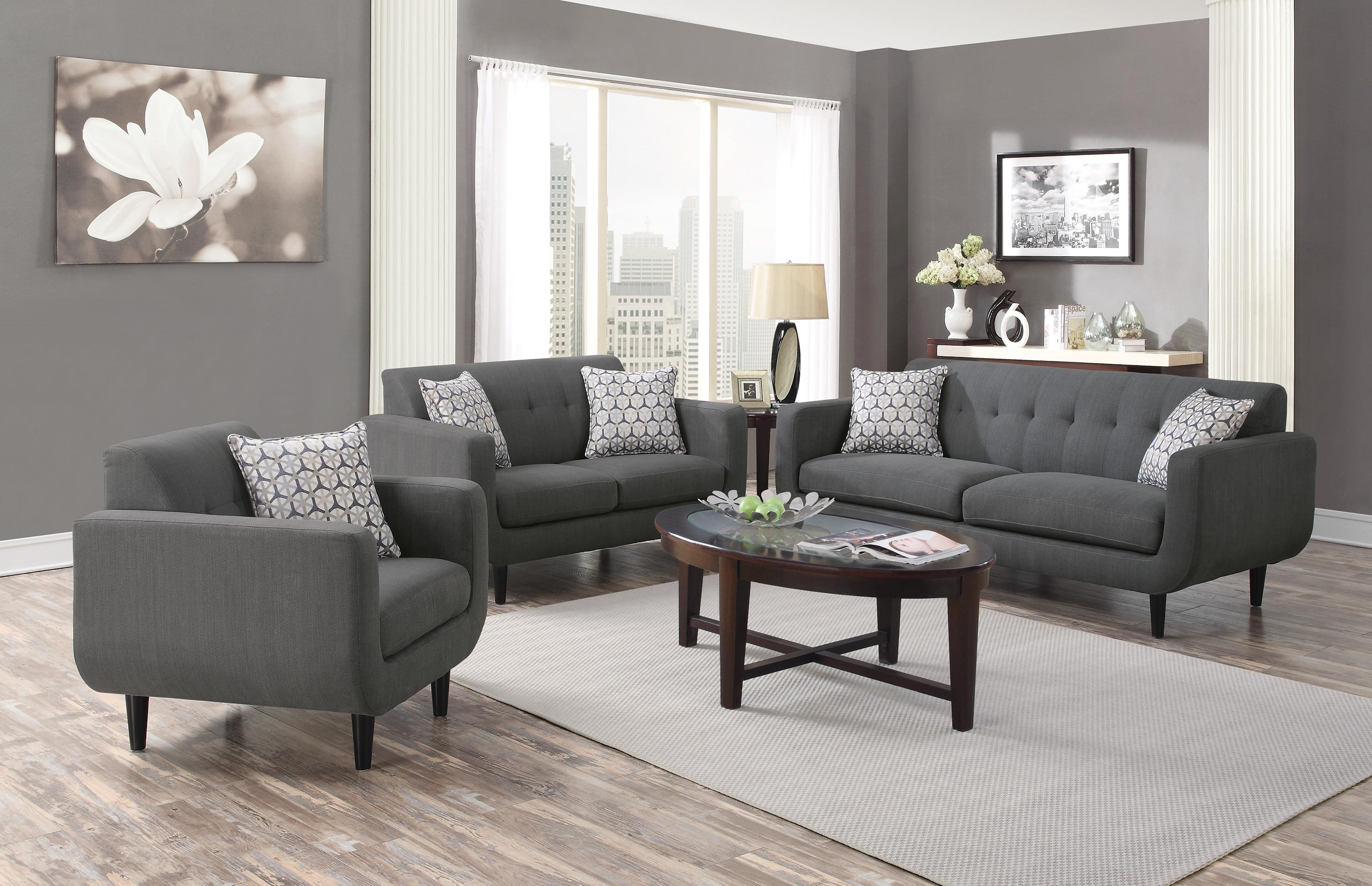 Coaster stansall 2pc grey sofa loveseat set dallas tx Living room furniture dallas