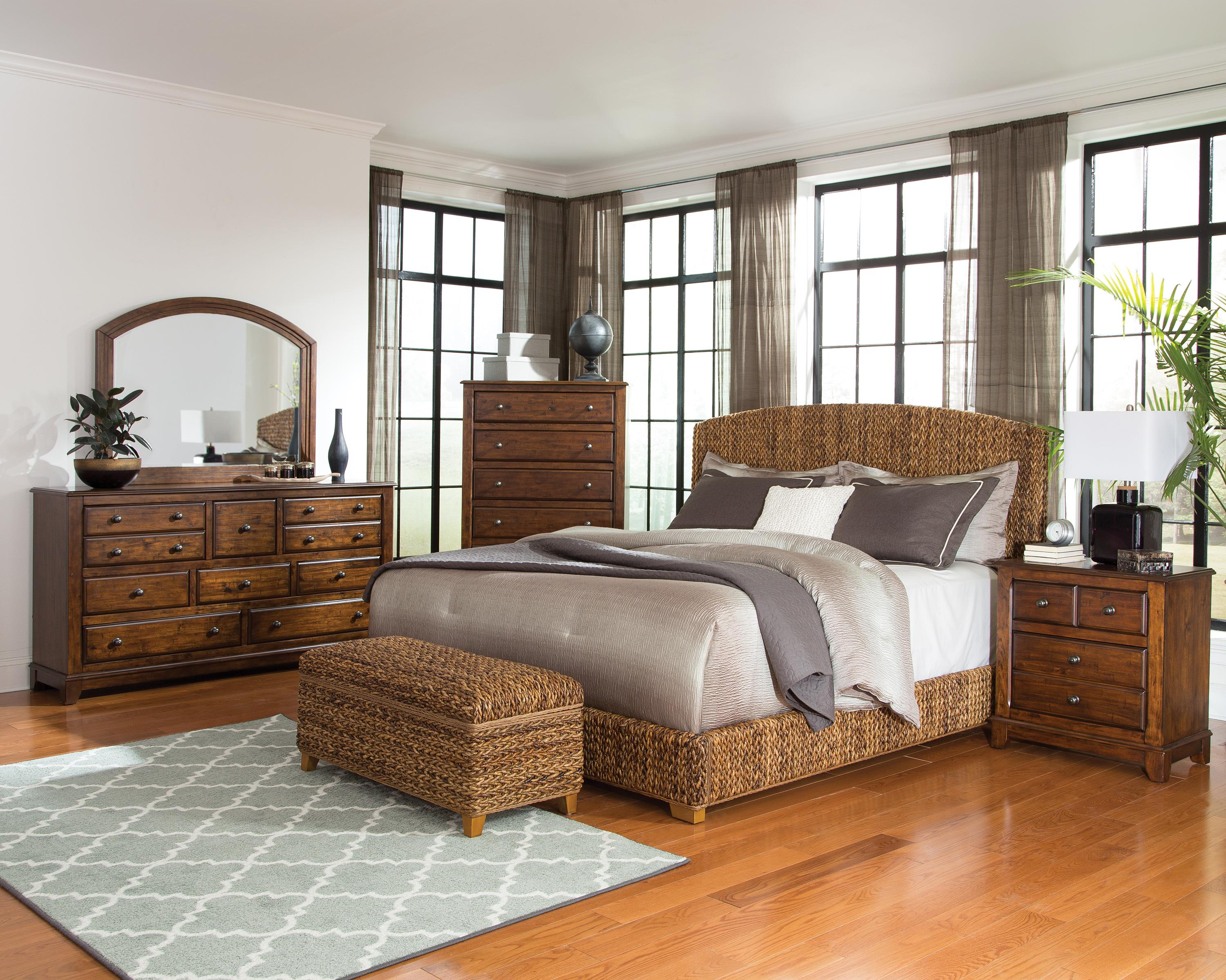 . Coaster Laughton King 5pc Natural Woven Bedroom Group