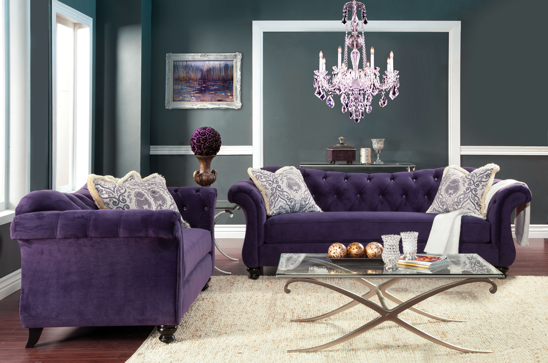 Groovy Foa Furniture Of America Antoinette 2Pc Purple Sofa Loveseat Set Gmtry Best Dining Table And Chair Ideas Images Gmtryco