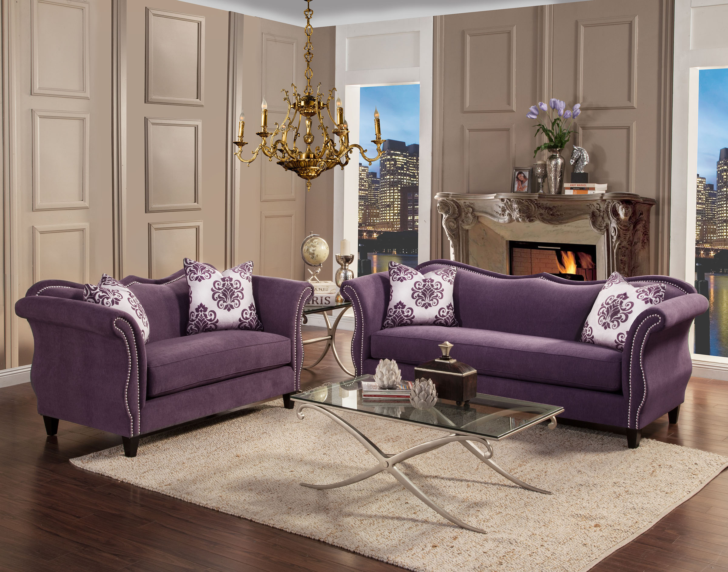 FOA Furniture America Zaffiro Lavender Sofa & Loveseat Set