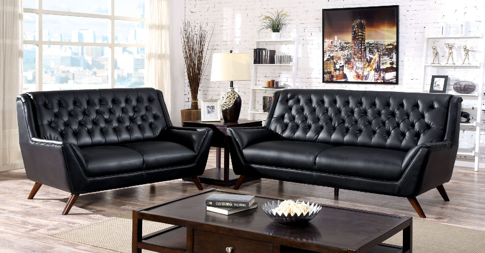 Foa furniture of america leia black sofa loveseat set Living room furniture dallas
