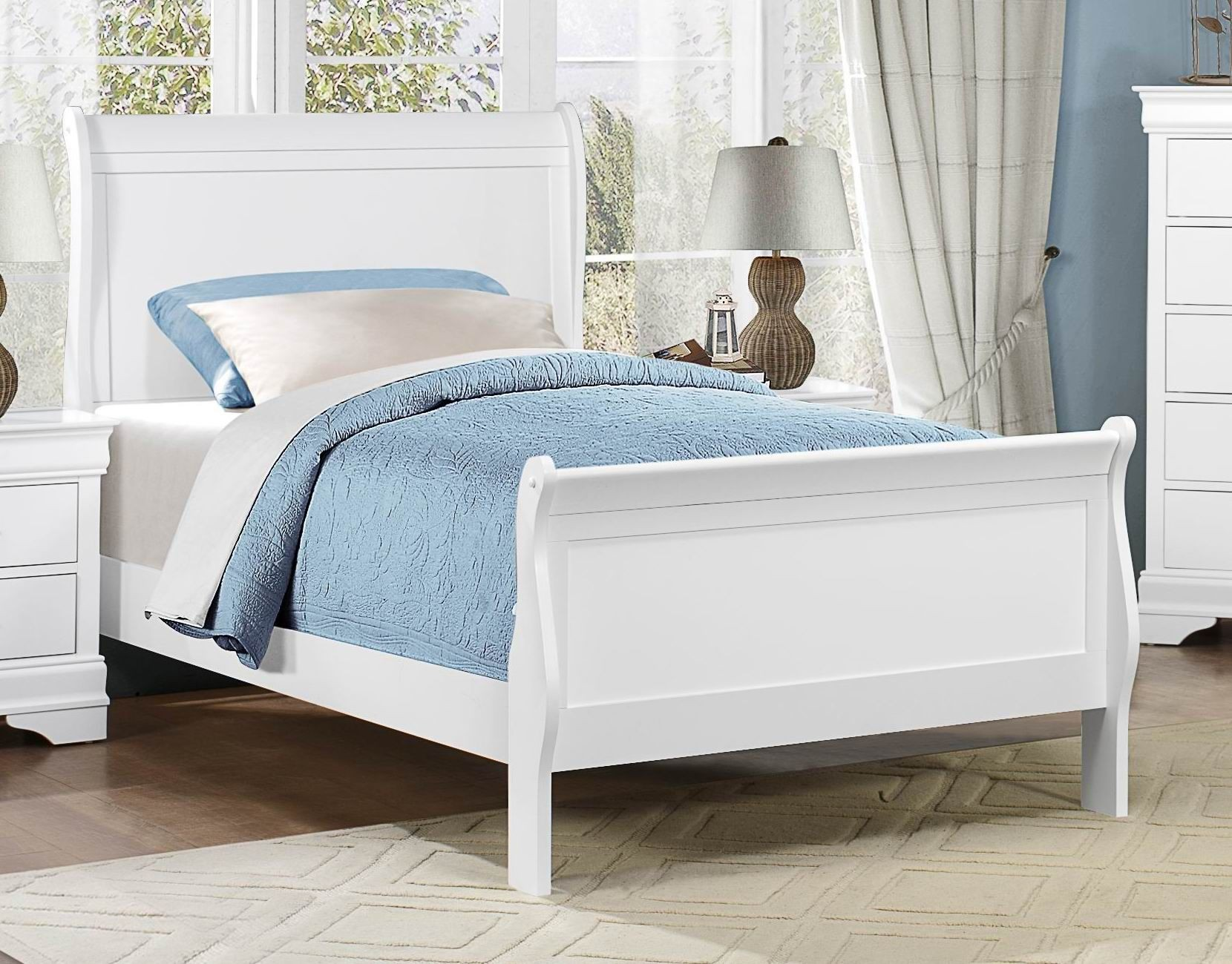 - Homelegance Mayville White Twin Sleigh Bed Dallas TX Kids Bed