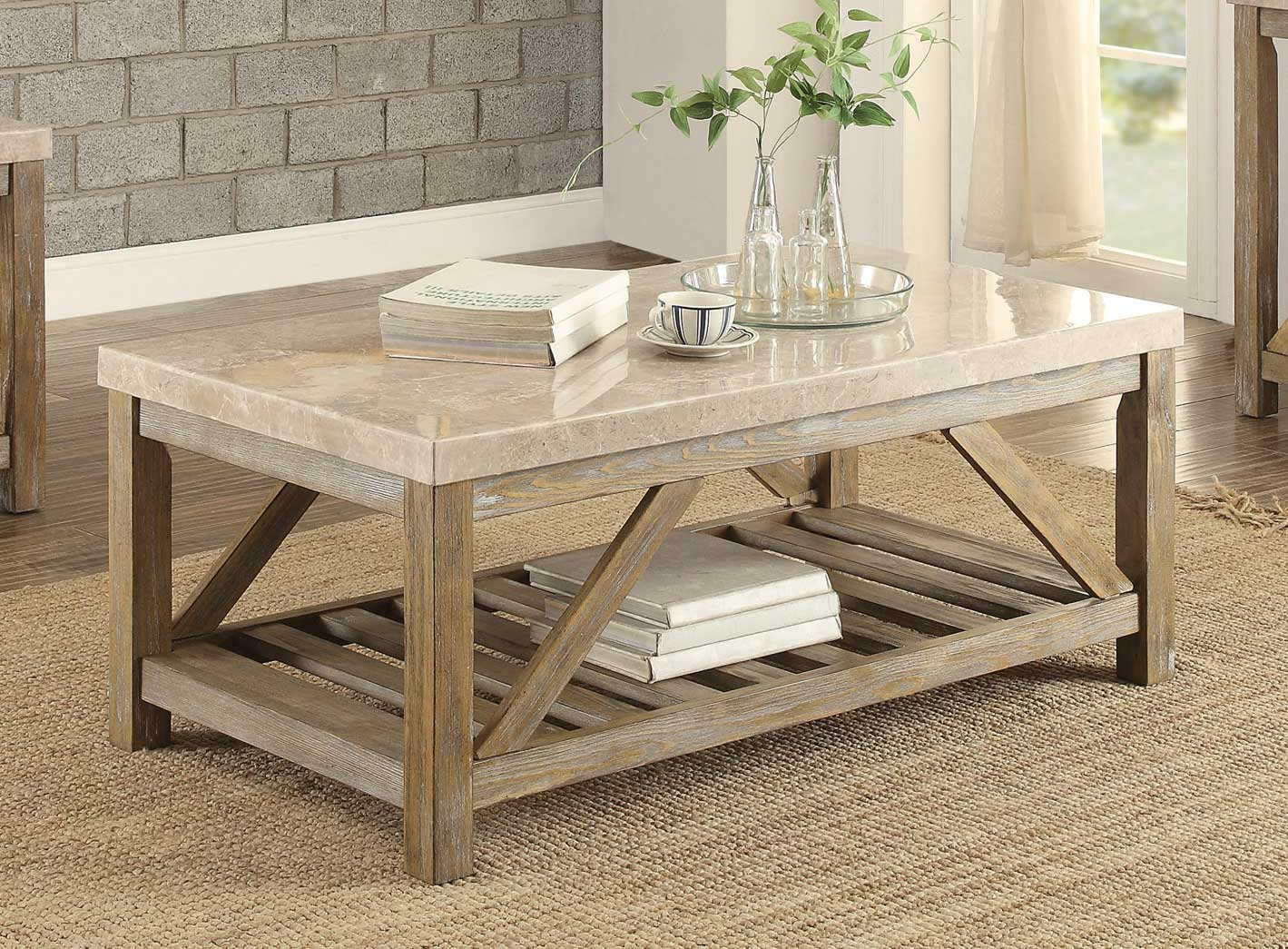 Weathered Large Framed Coffee Table
