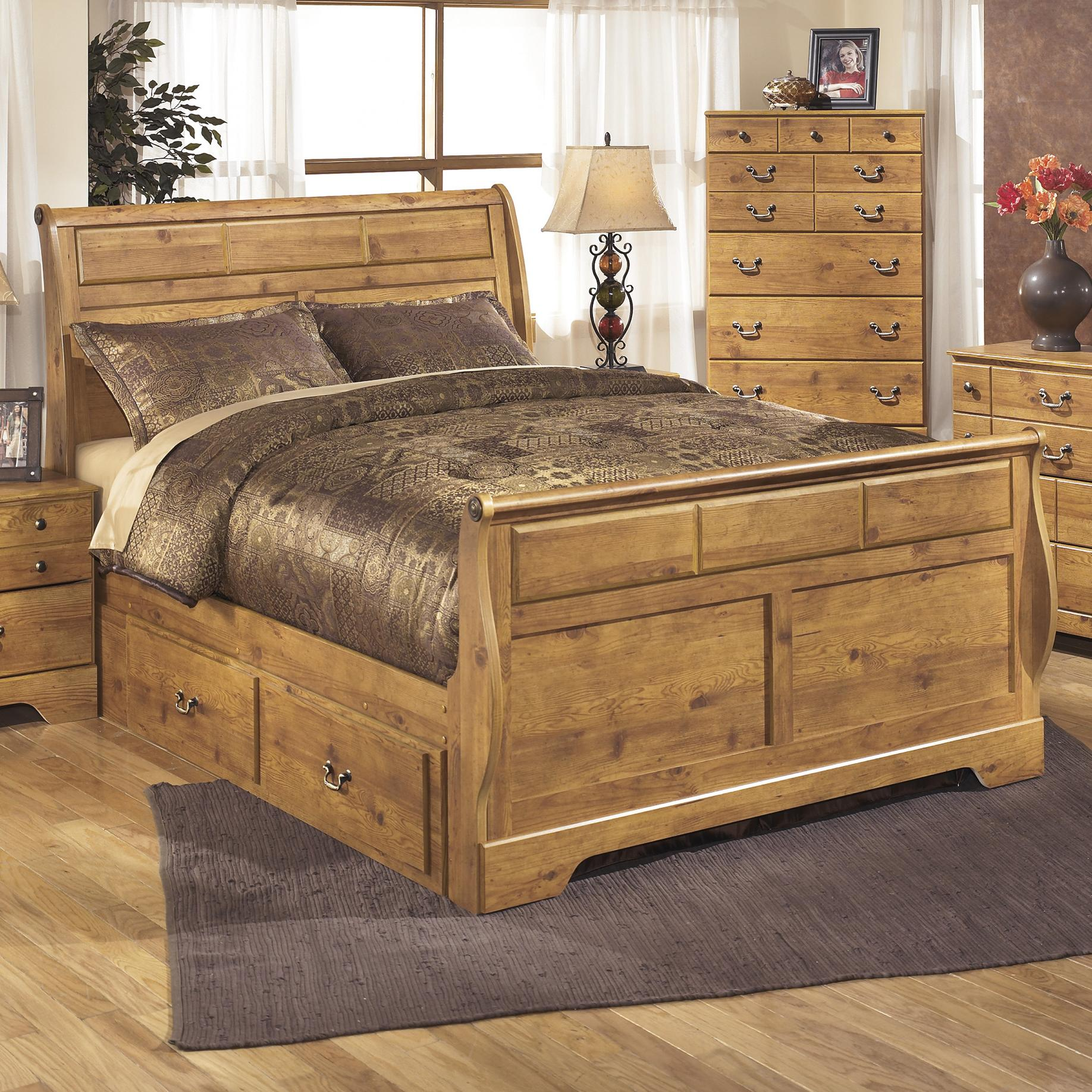 Picture of: Ashley Bittersweet Queen Sleigh Storage Bed Dallas Tx Bedroom Bed Furniture Nation