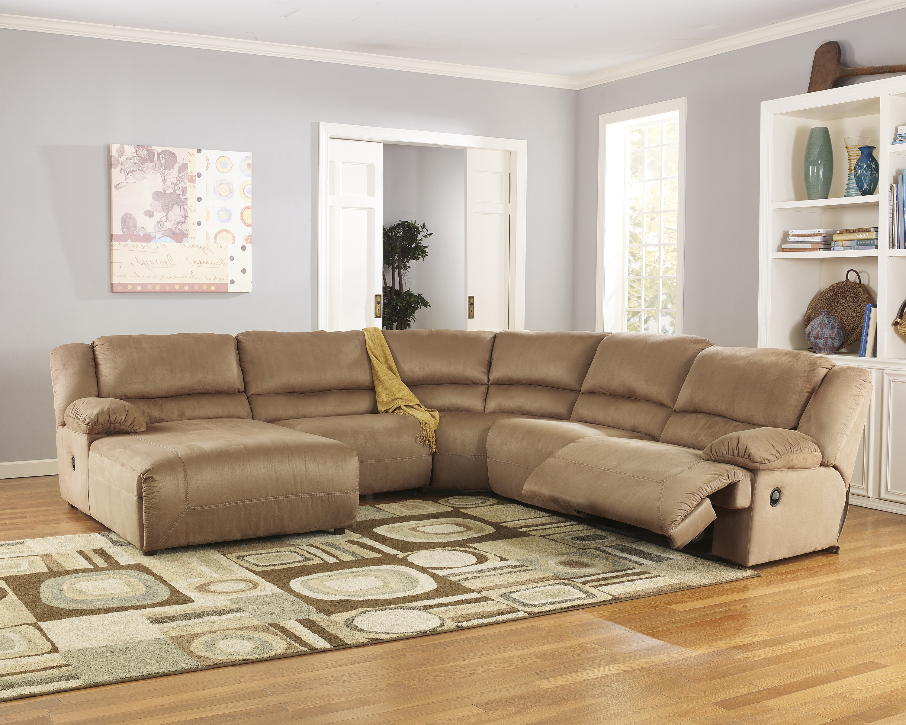 Ashley hogan 5pc left arm facing chaise sectional dallas for Ashley hogan chaise