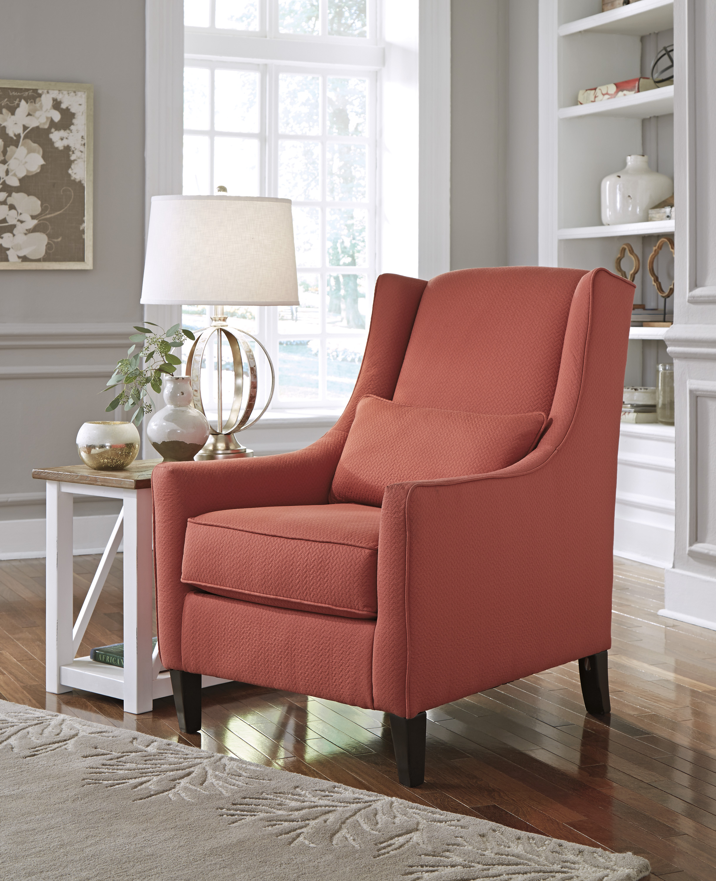 Ashley sansimeon red accent chair dallas tx living room chair furniture nation for Occasional chairs for living room