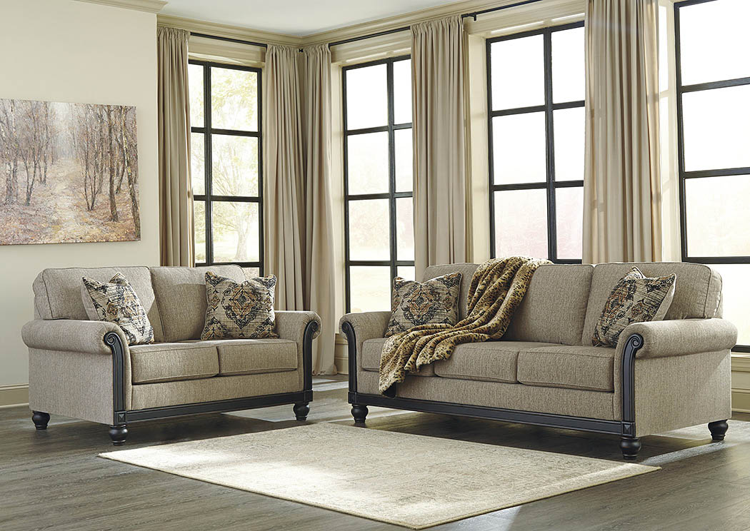 Ashley Blackwood Taupe 2pc Sofa Loveseat Set