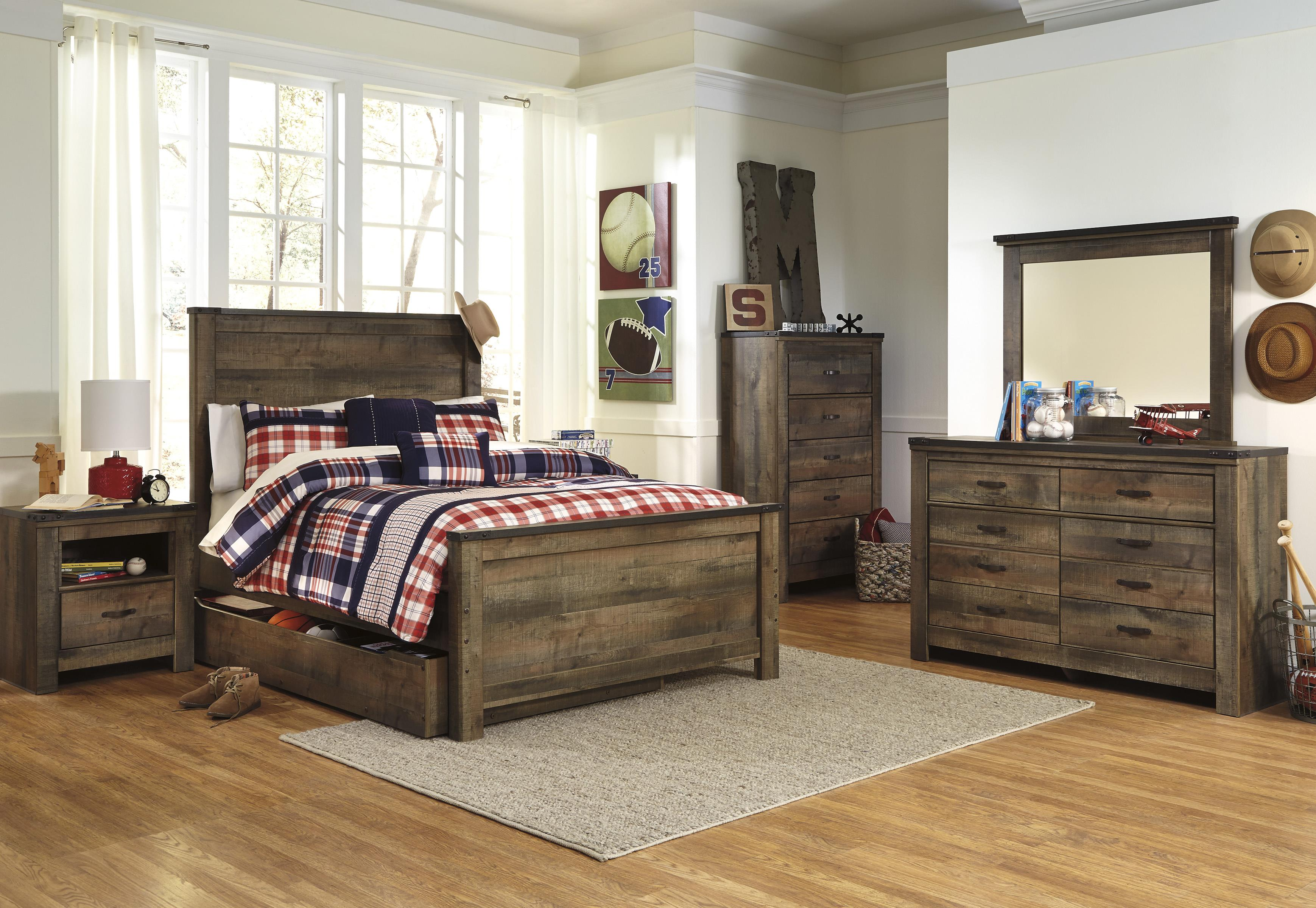 Picture of: Ashley Trinell 5pc Twin Panel Under Storage Bedroom Group Dallas Tx Kids Bedroom Group Furniture Nation
