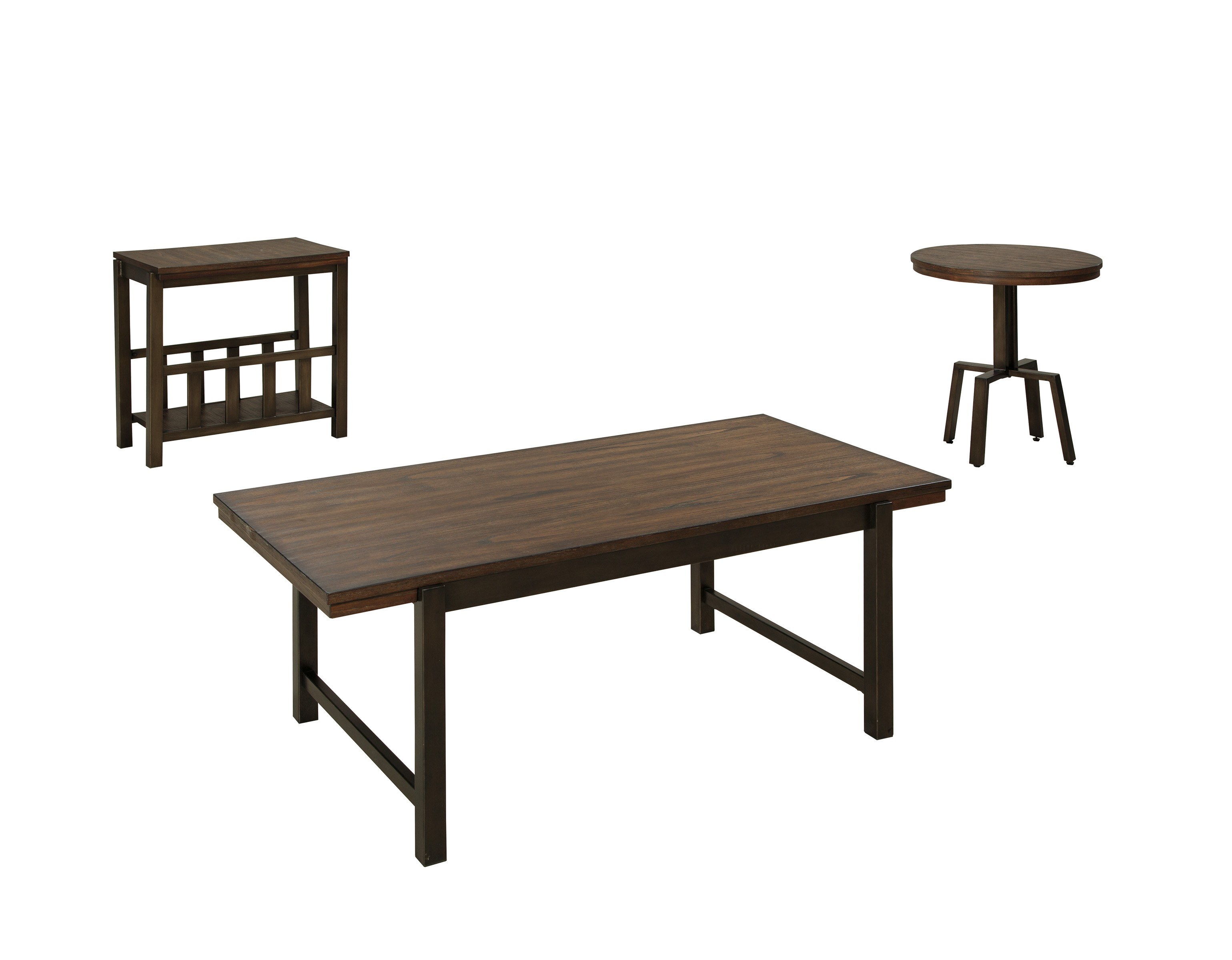 Ashley Riggerton 3pc Burnished Brown Coffee Table Set