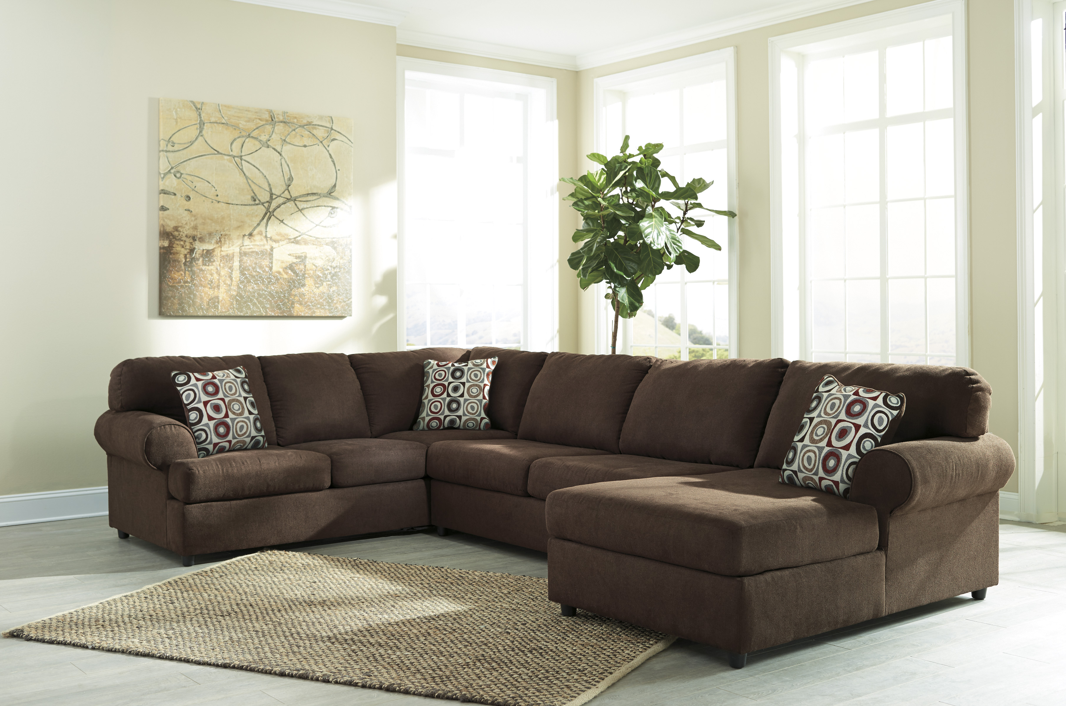 Ashley jayceon 3pc brown right arm facing corner chaise for Ashley brown sofa chaise