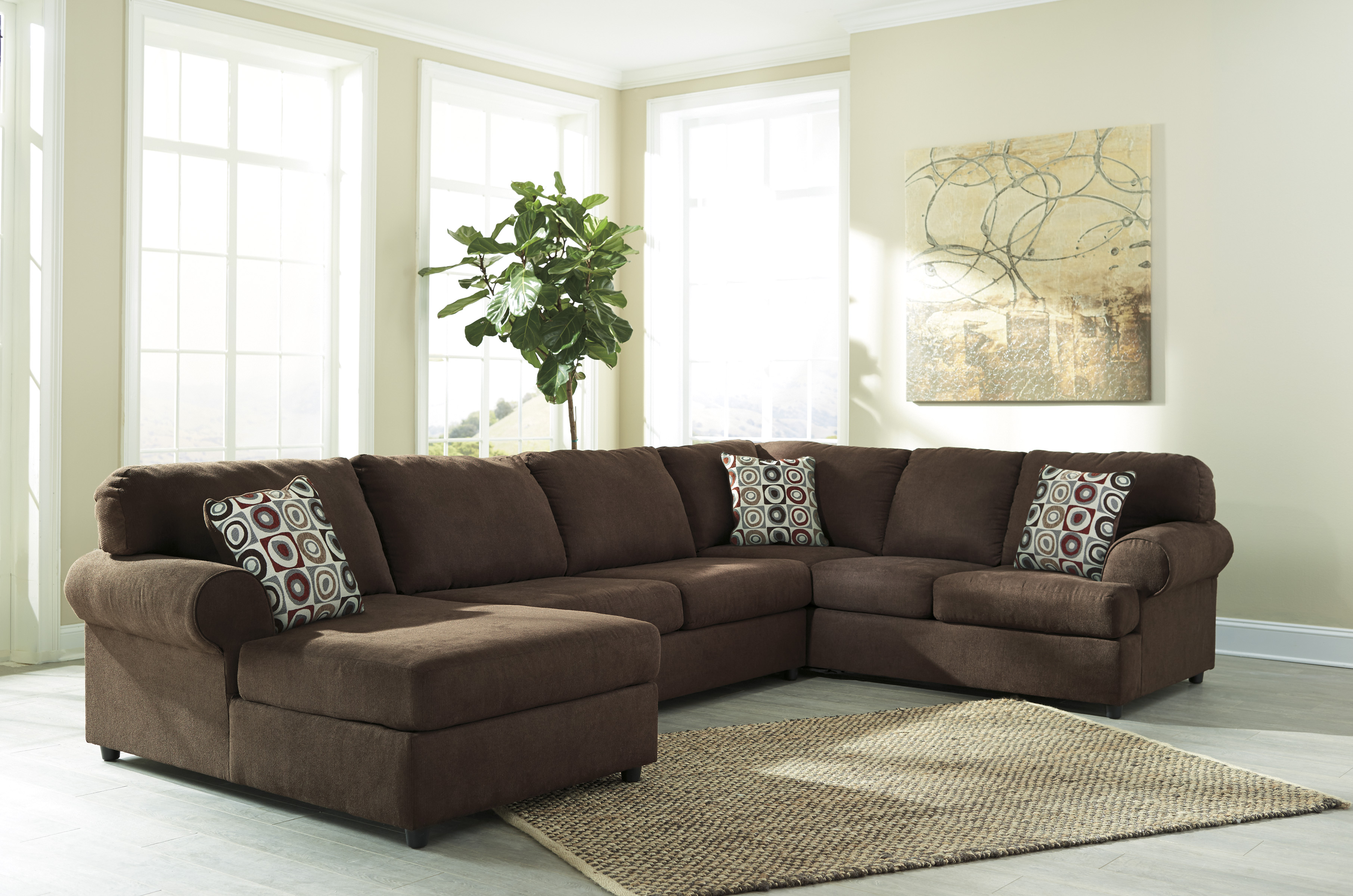 Ashley jayceon 3pc brown left arm facing corner chaise for Ashley brown sofa chaise