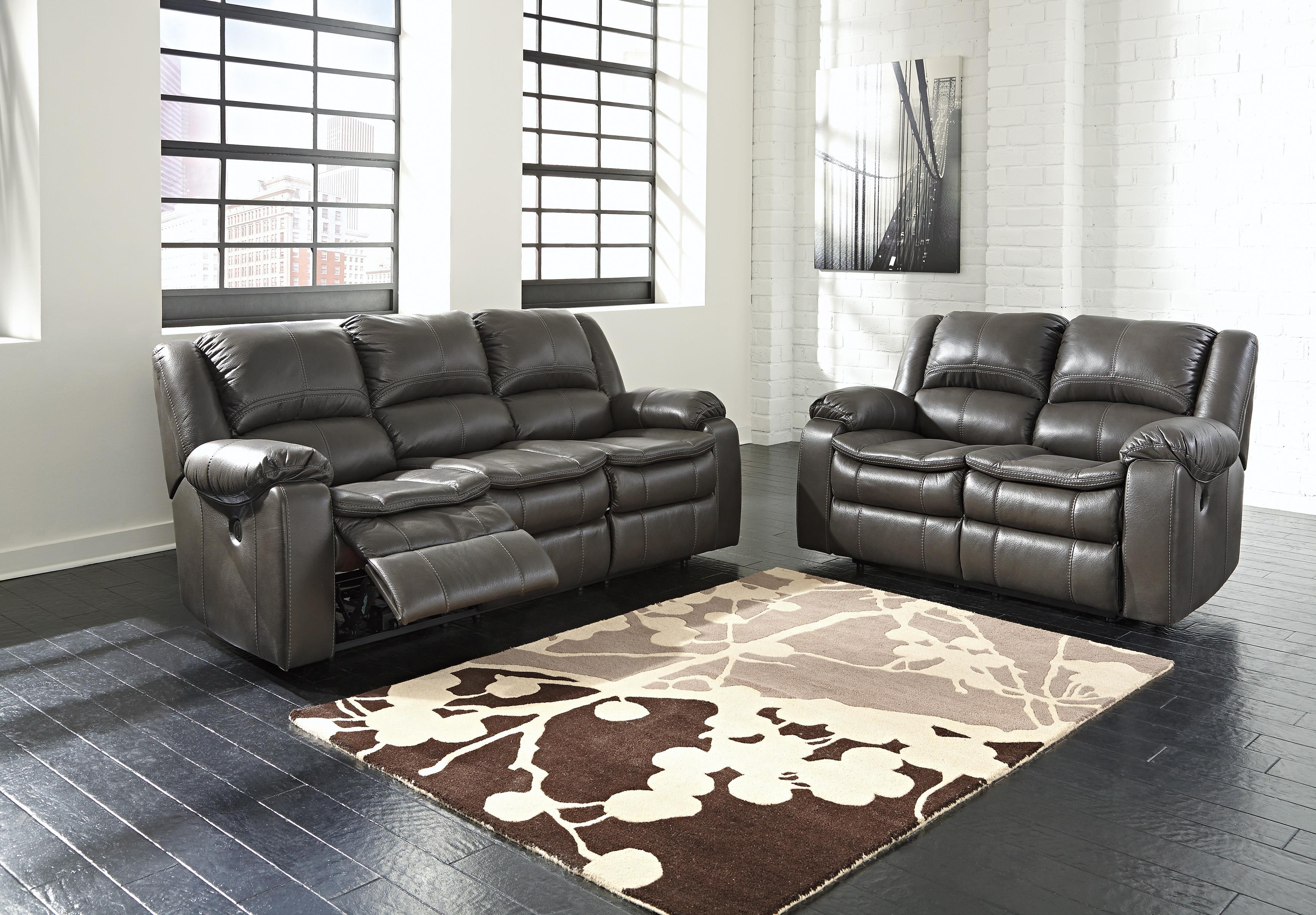Ashley Long Knight 2pc Grey Reclining Sofa Amp Loveseat Set