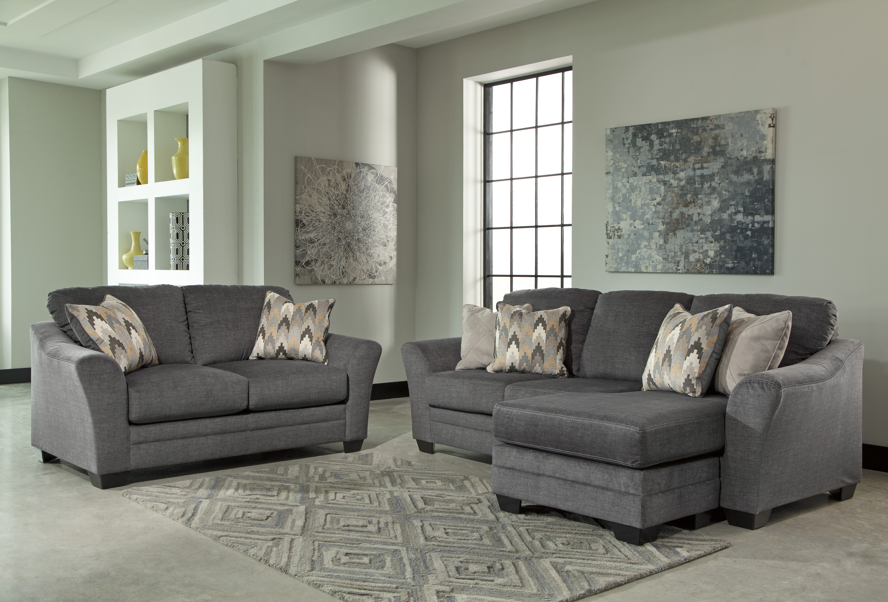 Ashley Braxlin Charcoal 2pc Sofa Chaise Amp Loveseat Set
