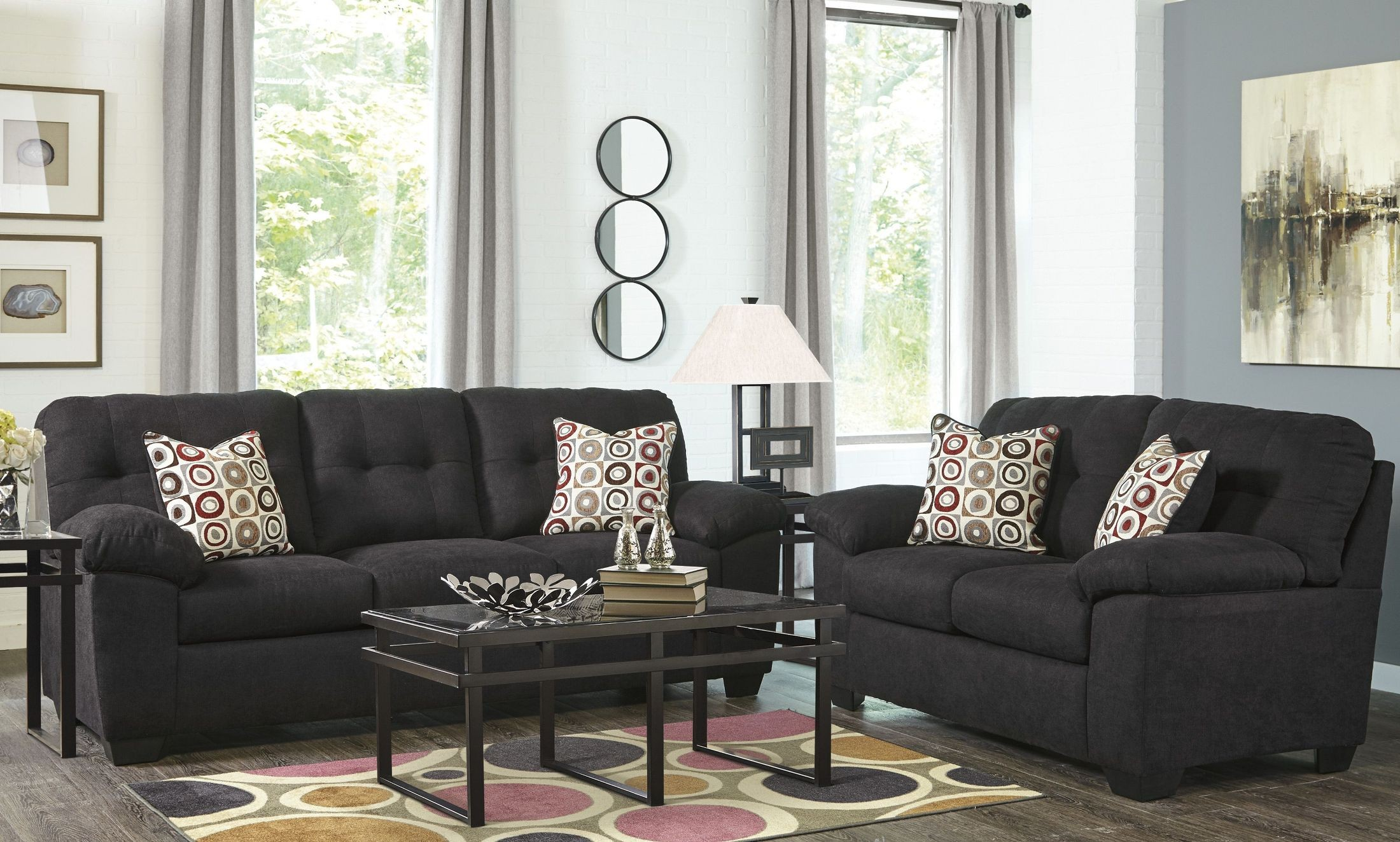 ackerly ebony 2pc sofa loveseat set dallas tx living