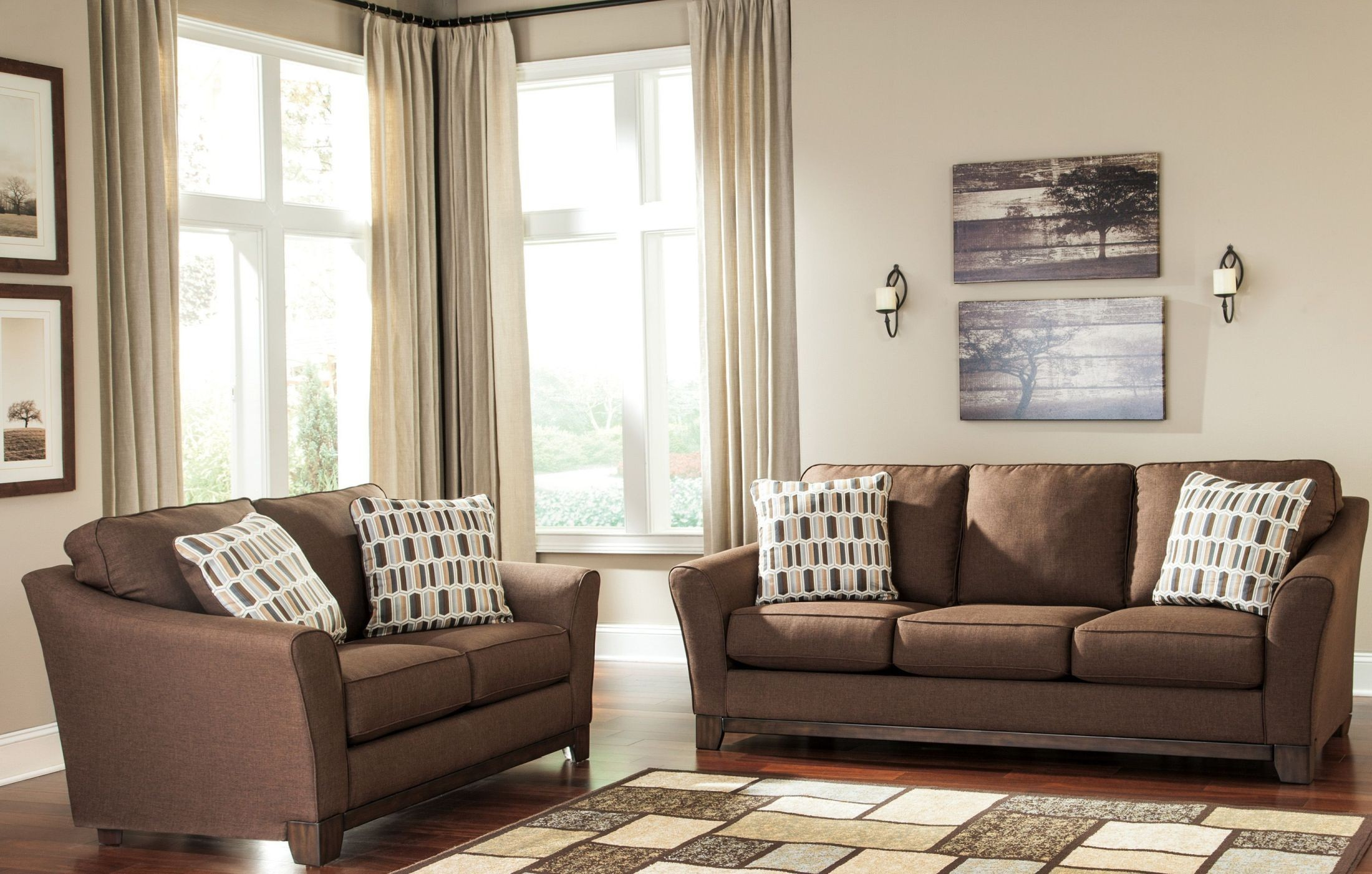 Ashley Alara Chocolate 2pc Sofa & Loveseat Set Dallas TX | Living ...