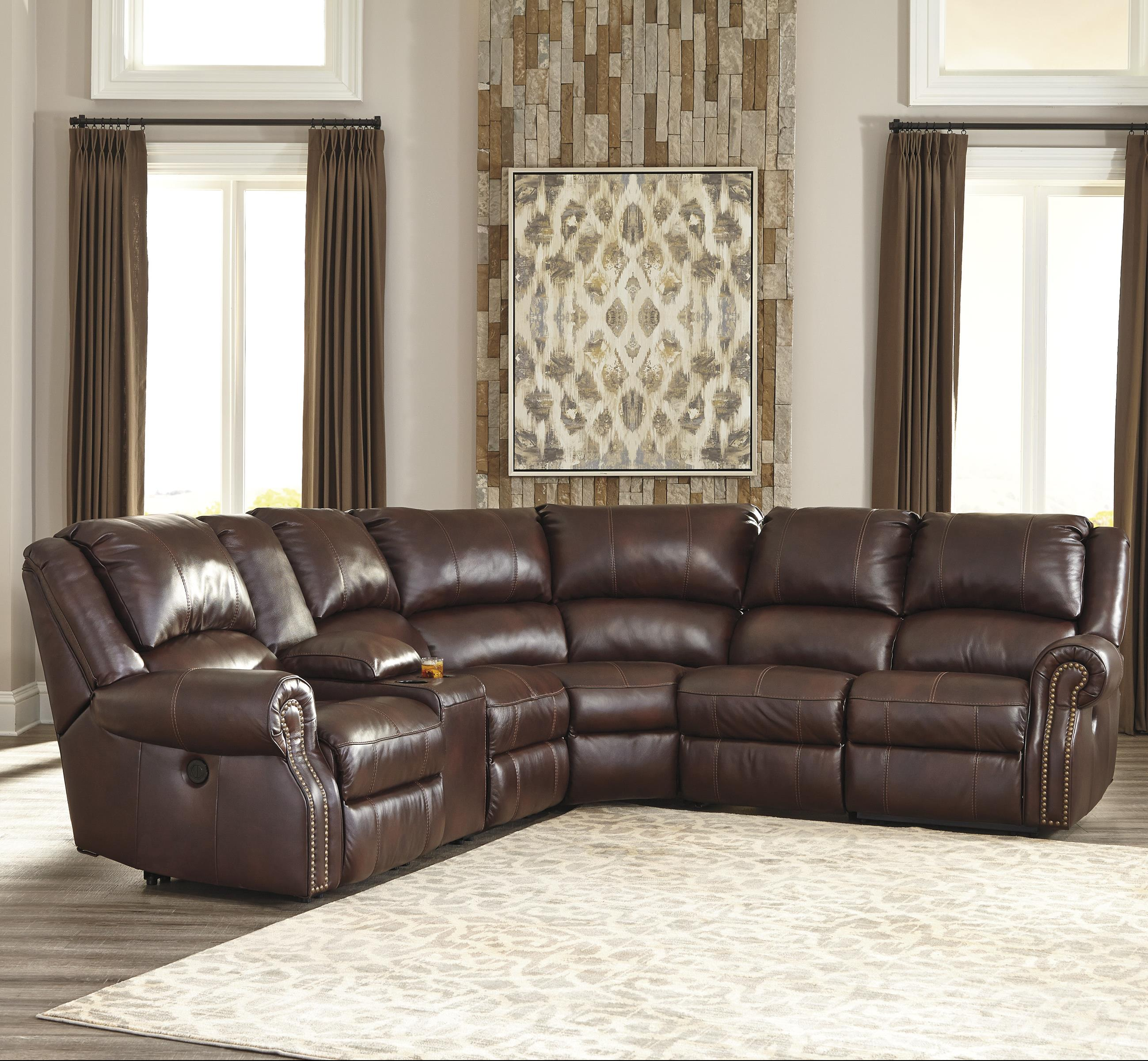 Texas Ashley Furniture: Ashley Collinsville 5pc Chestnut Reclining Sectional