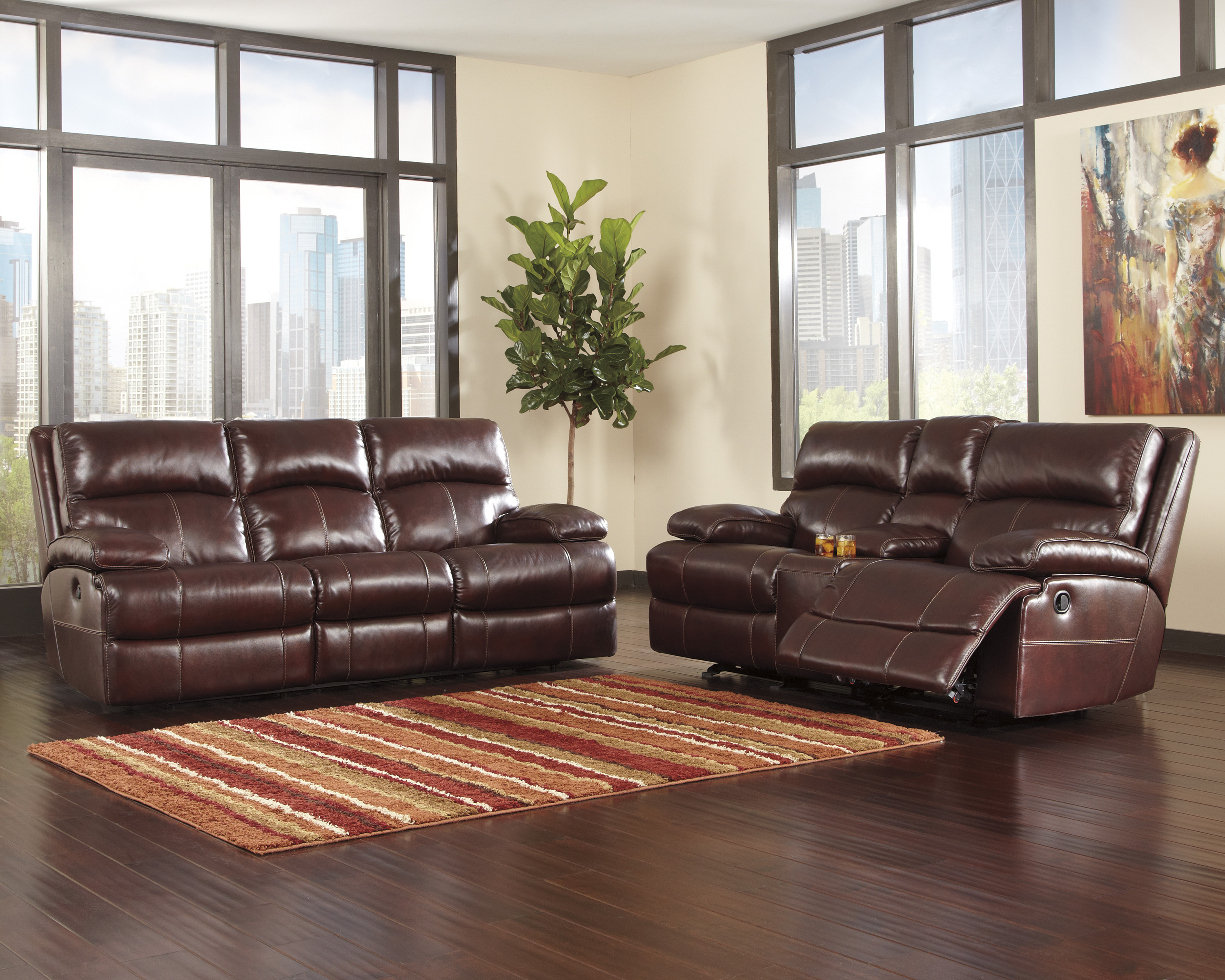 ashley gilmanton 2pc burgundy sofa amp loveseat set dallas