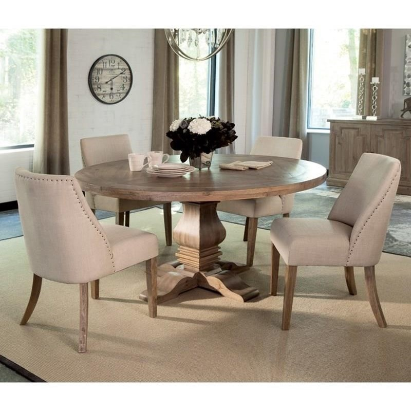 Dining Room Sets Dallas Tx: Coaster Florence 5pc Natural Round Dining Table Set Dallas