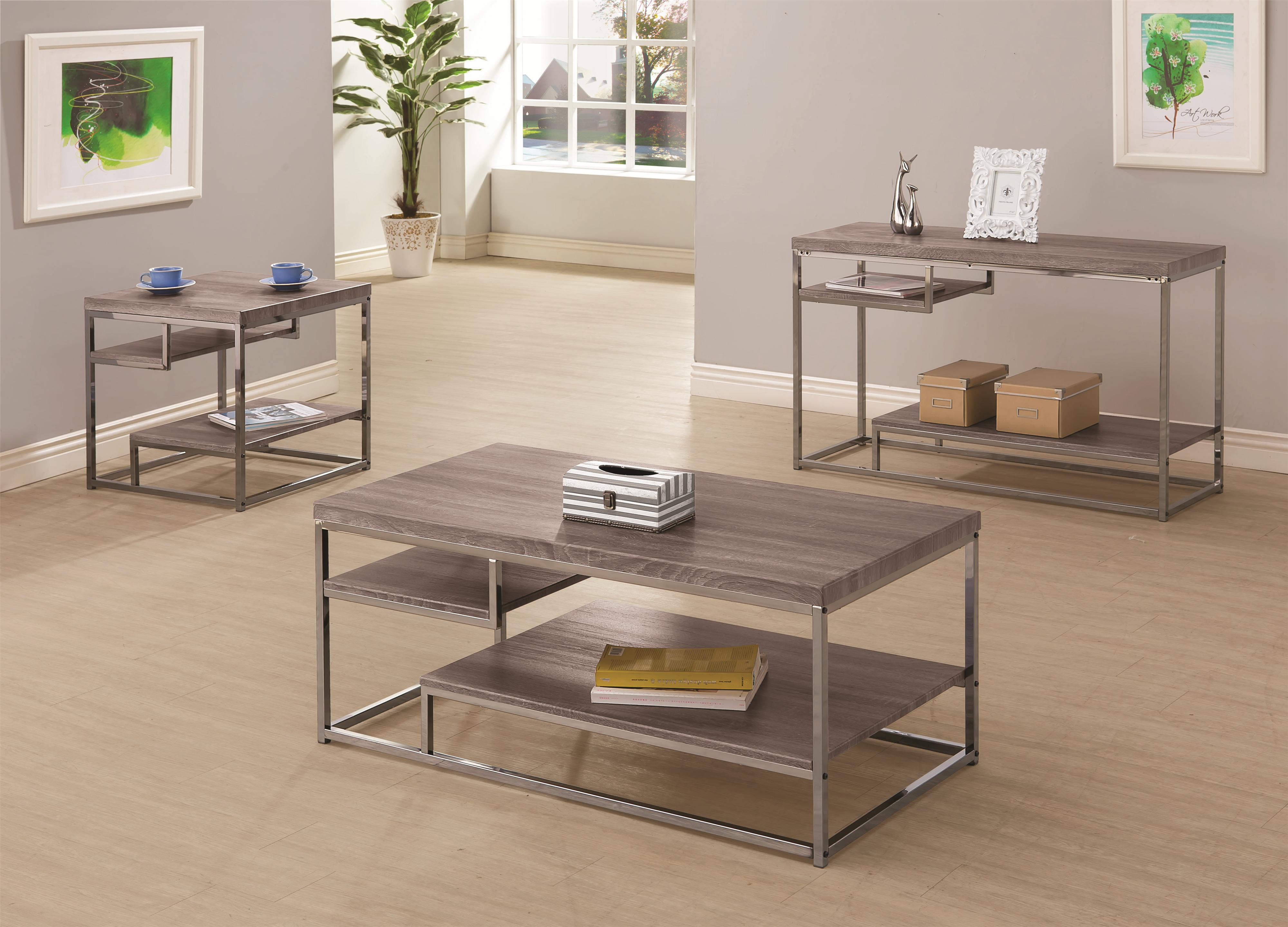 Excellent Coaster Alaam 3Pc Weathered Grey Coffee Table Set Short Links Chair Design For Home Short Linksinfo