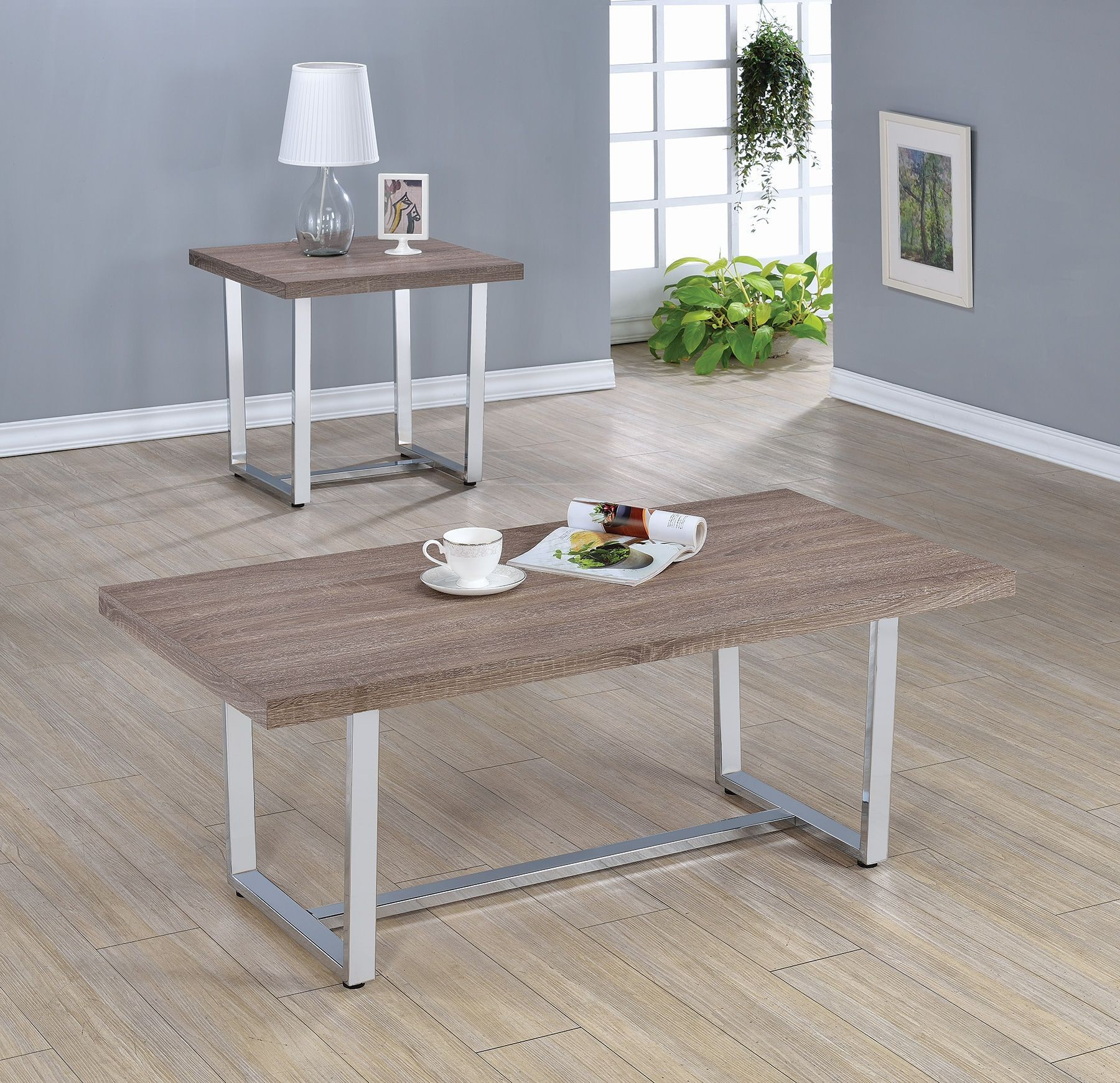 Marten Pc Weathered Taupe Coffee Table Set Dallas TX Occasional - Magic coffee table