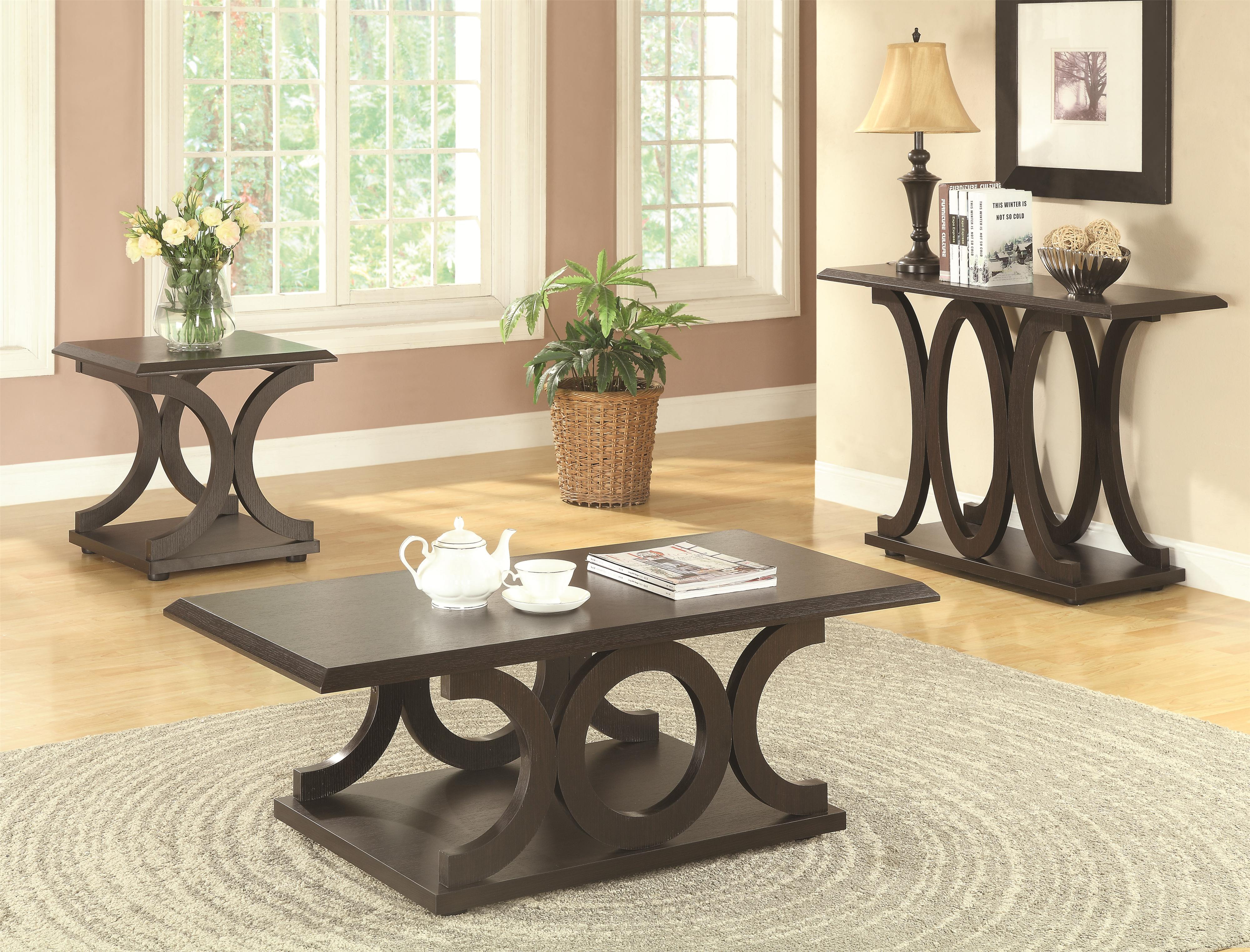 Coaster Ibanded 3pc Cappuccino Coffee Table Set