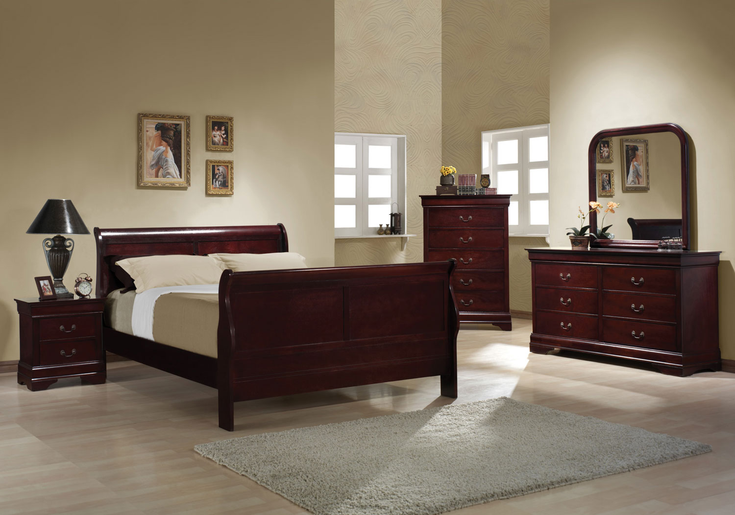 Coaster Louis Philippe 5pc Cherry Twin Bedroom Group