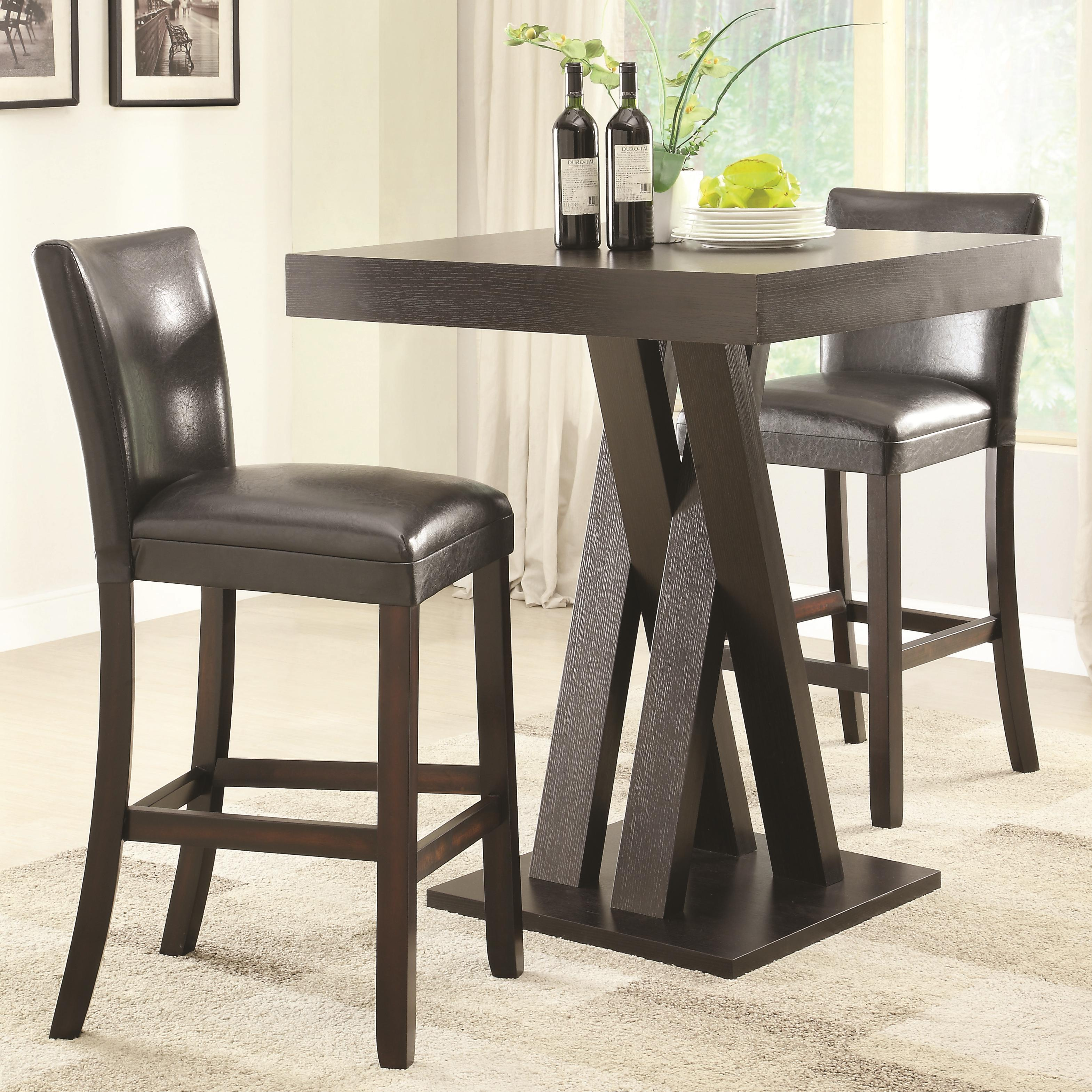 Dining Room Furniture Dallas Tx: Coaster Selva 3pc Cappuccino Counter Height Dining Room