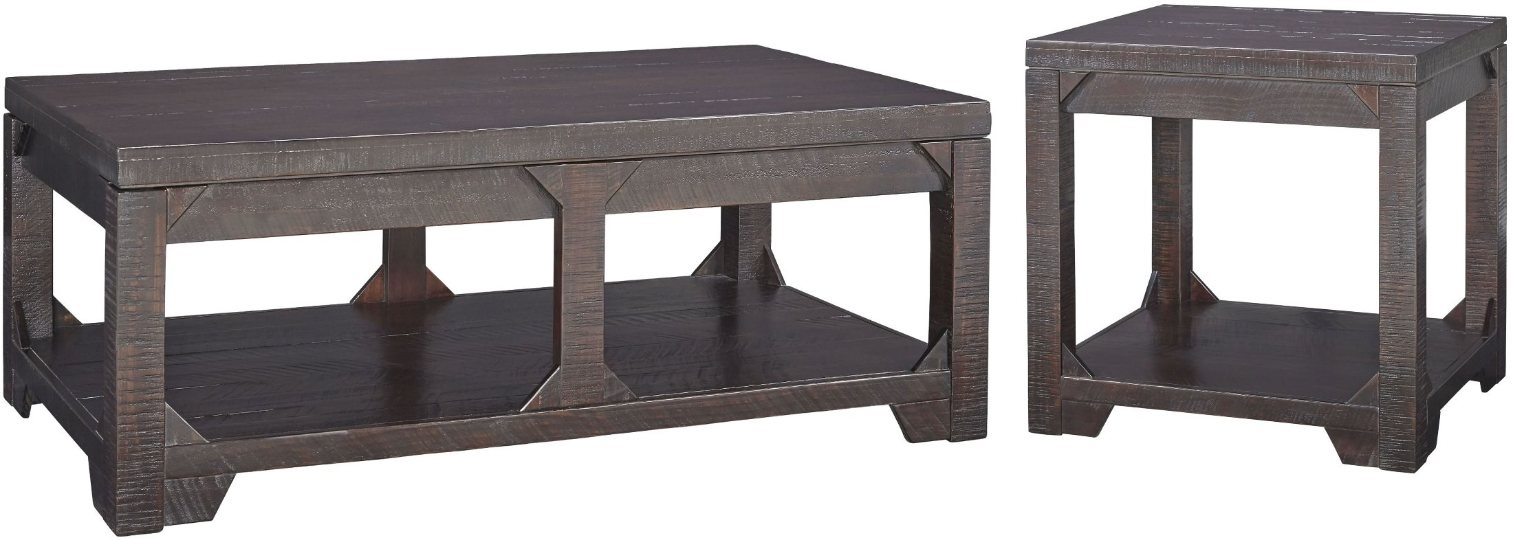 Ashley rogness 3pc rustic brown rectangular coffee table for Rustic coffee table and end table set