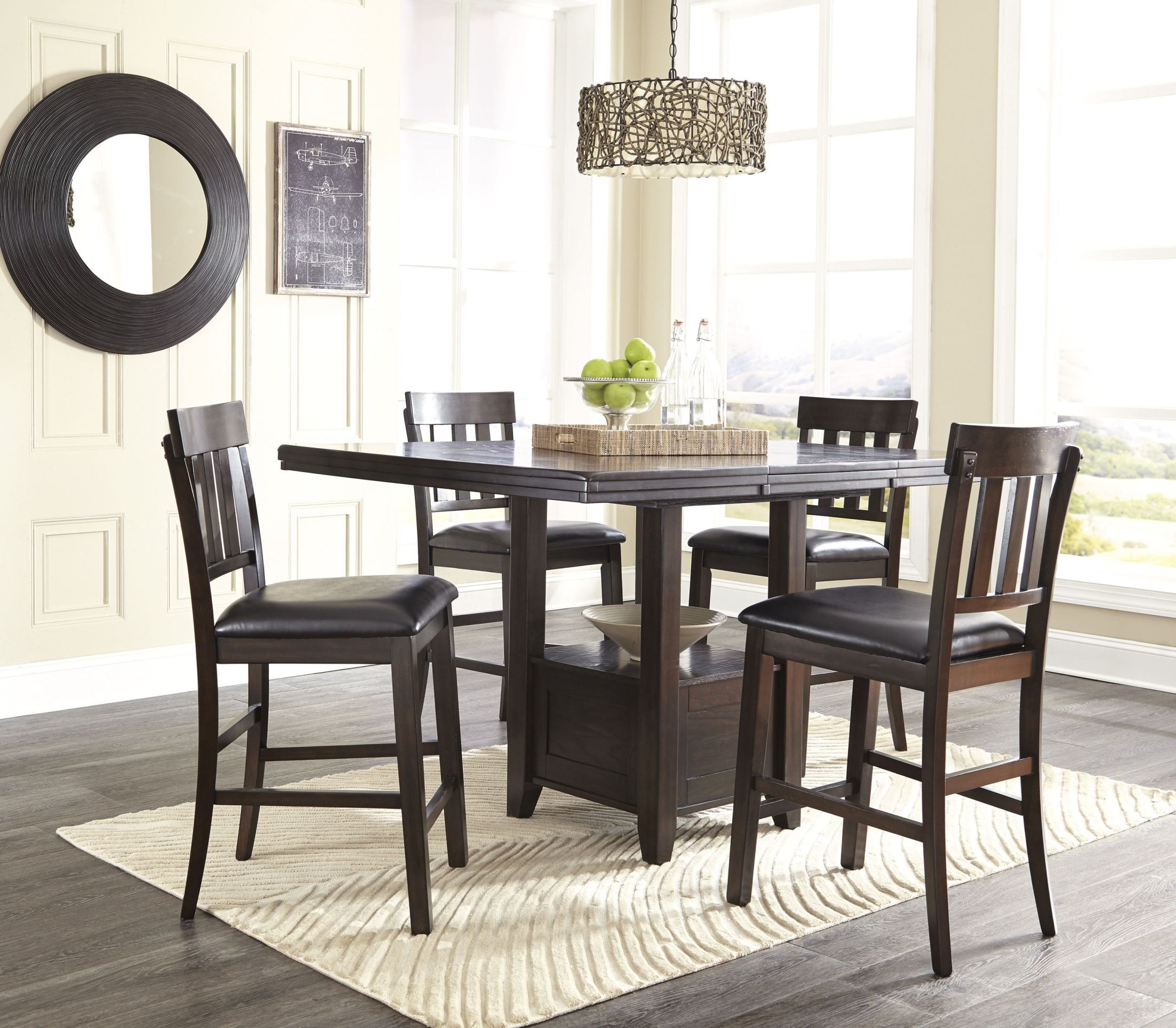 Dining Room Sets Dallas Tx: Ashley Haddigan 5pc Dark Brown Counter Height Dining Room