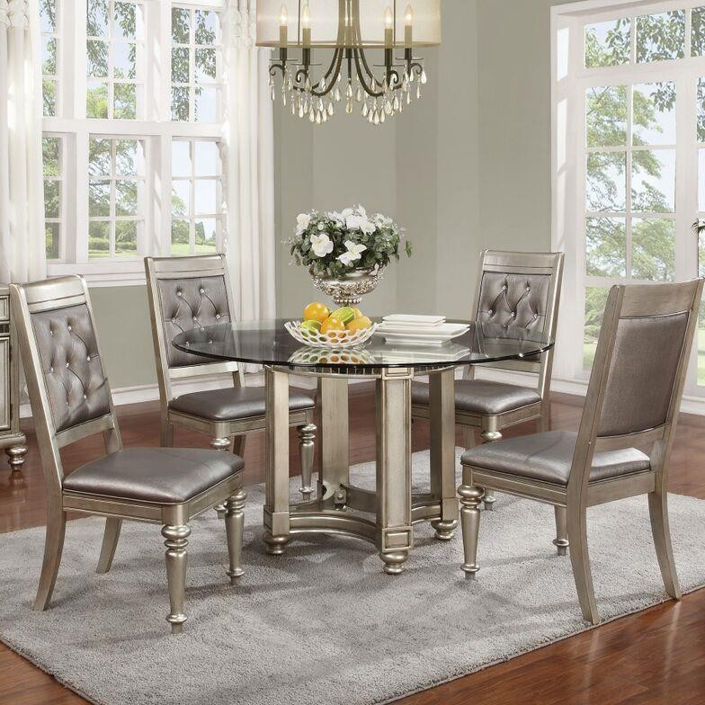 Dining Room Sets Dallas Tx: Coaster Danette 5pc Platinum Round Dining Table Set Dallas