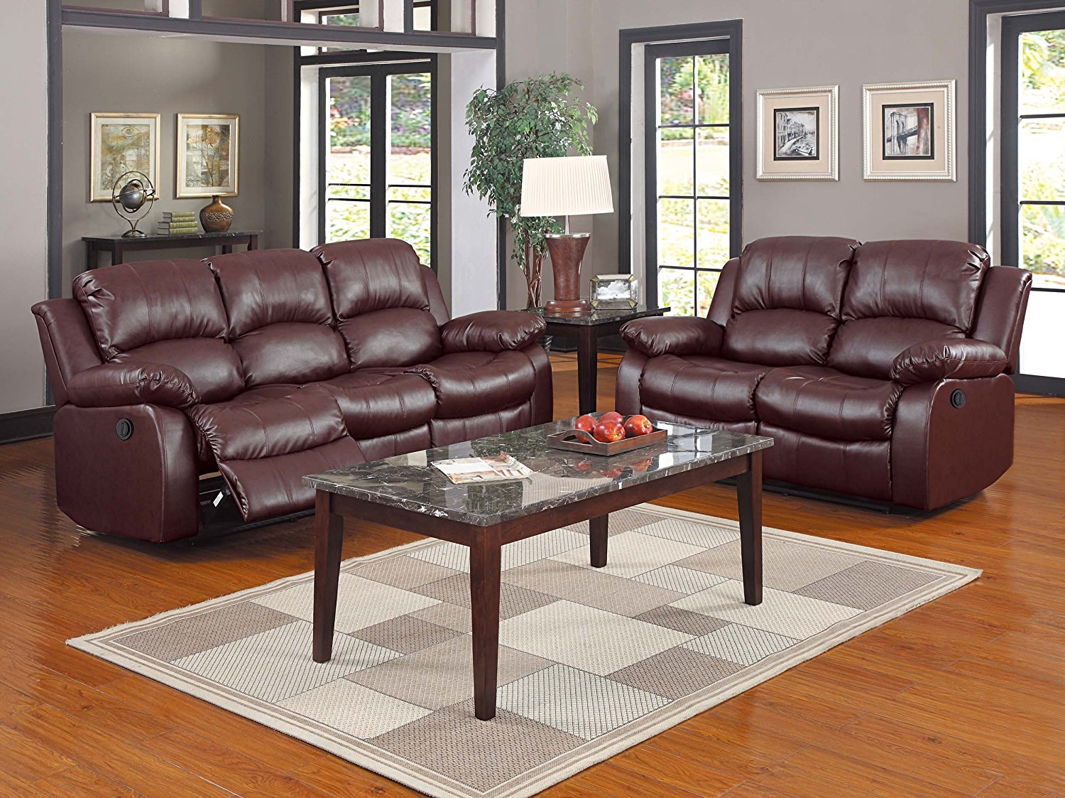 Tremendous Homelegance Cranley 2Pc Brown Power Double Reclining Sofa Loveseat Set Bralicious Painted Fabric Chair Ideas Braliciousco