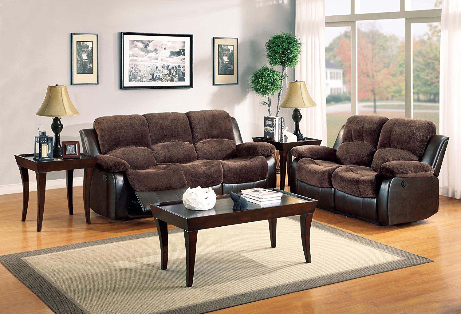 Surprising Homelegance Cranley 2Pc Chocolate Power Double Reclining Sofa Loveseat Set Beutiful Home Inspiration Cosmmahrainfo