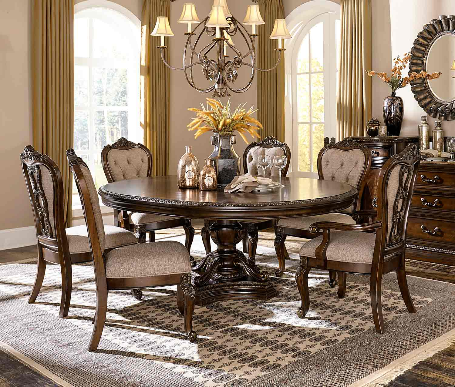 Dining Room Sets Dallas Tx: Homelegance Bonaventure Park 7pc Cherry Round Dining Table