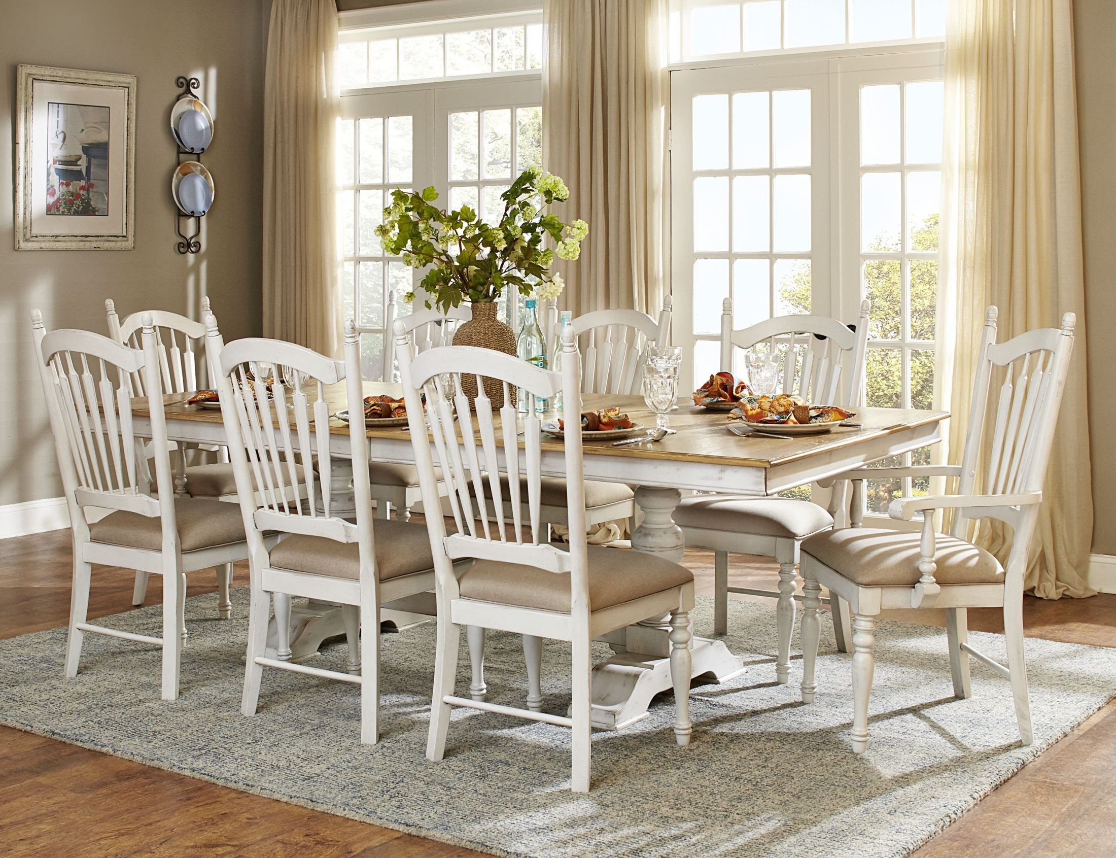 Homelegance Hollyhock 9pc Dining Table Set