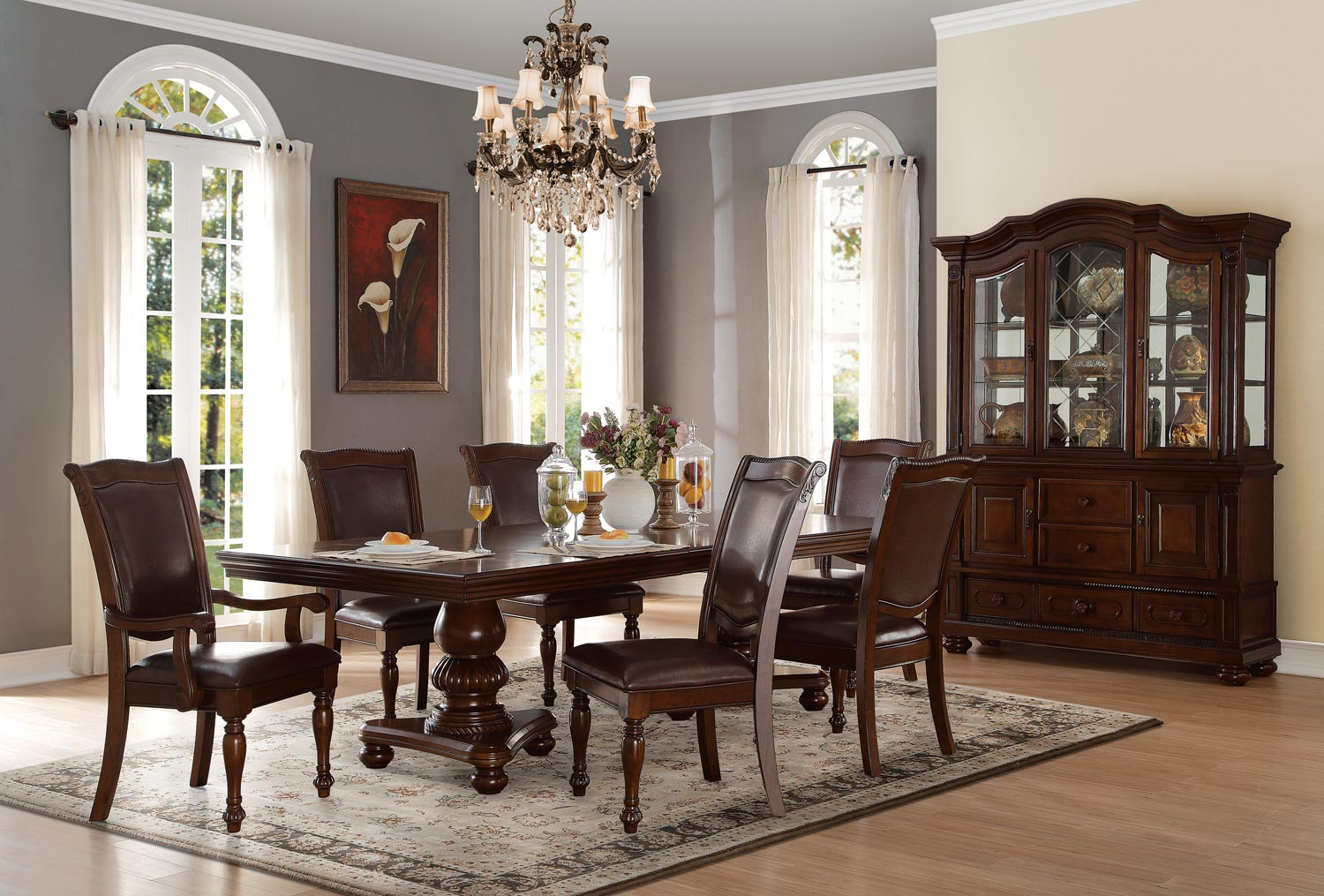 Homelegance Lordsburg 7pc Brown Cherry Dining Table Set Dallas Tx Dining Room Sets Furniture Nation