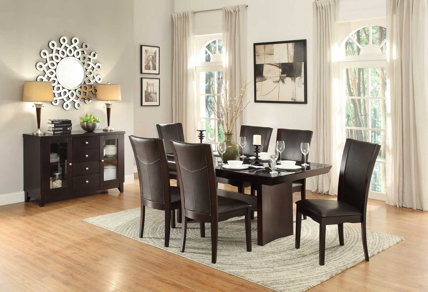 Homelegance Daisy 7pc Dark Brown Glass Top Dining Table Set