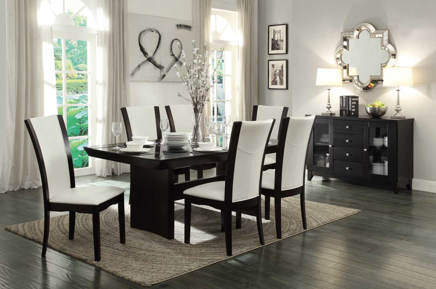 Homelegance Daisy 7pc White Glass Top Dining Table Set