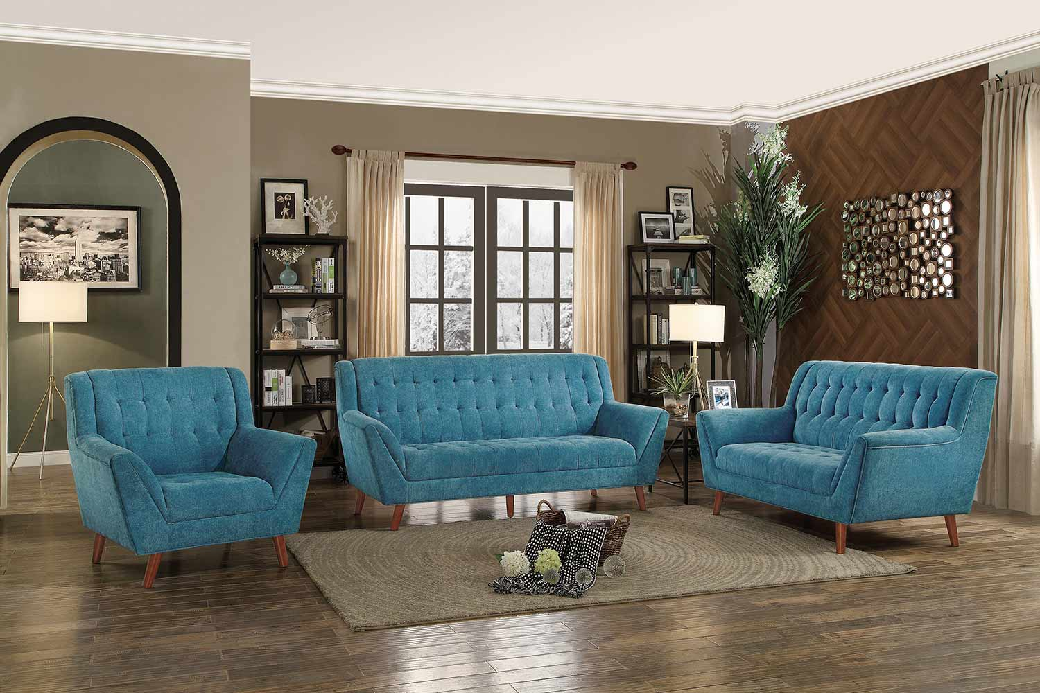 Picture of: Homelegance Erath 2pc Blue Sofa Love Seat Set Dallas Tx Living Room Set Furniture Nation