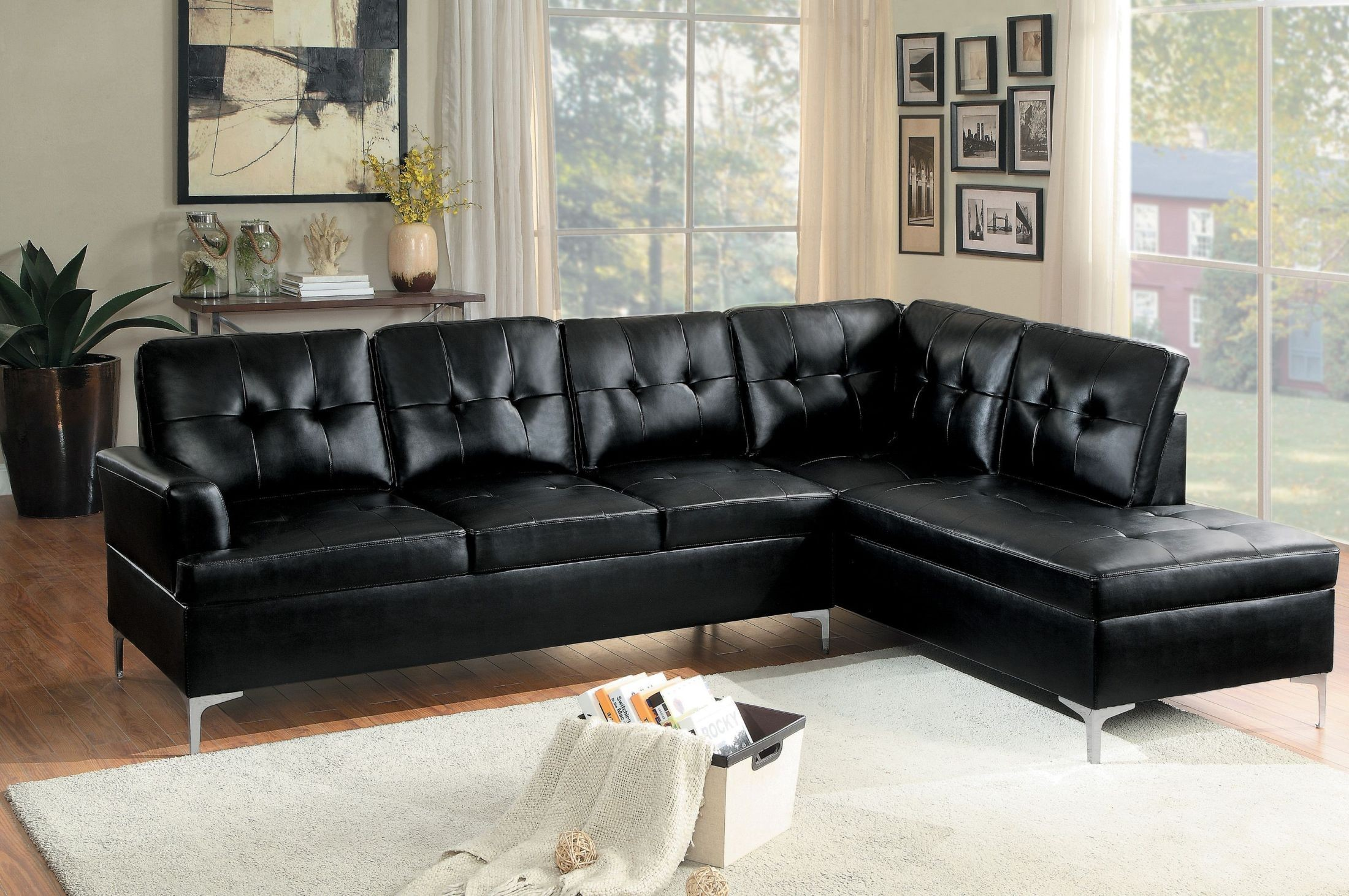 Awesome Homelegance Barrington 2Pc Black Sectional Pabps2019 Chair Design Images Pabps2019Com