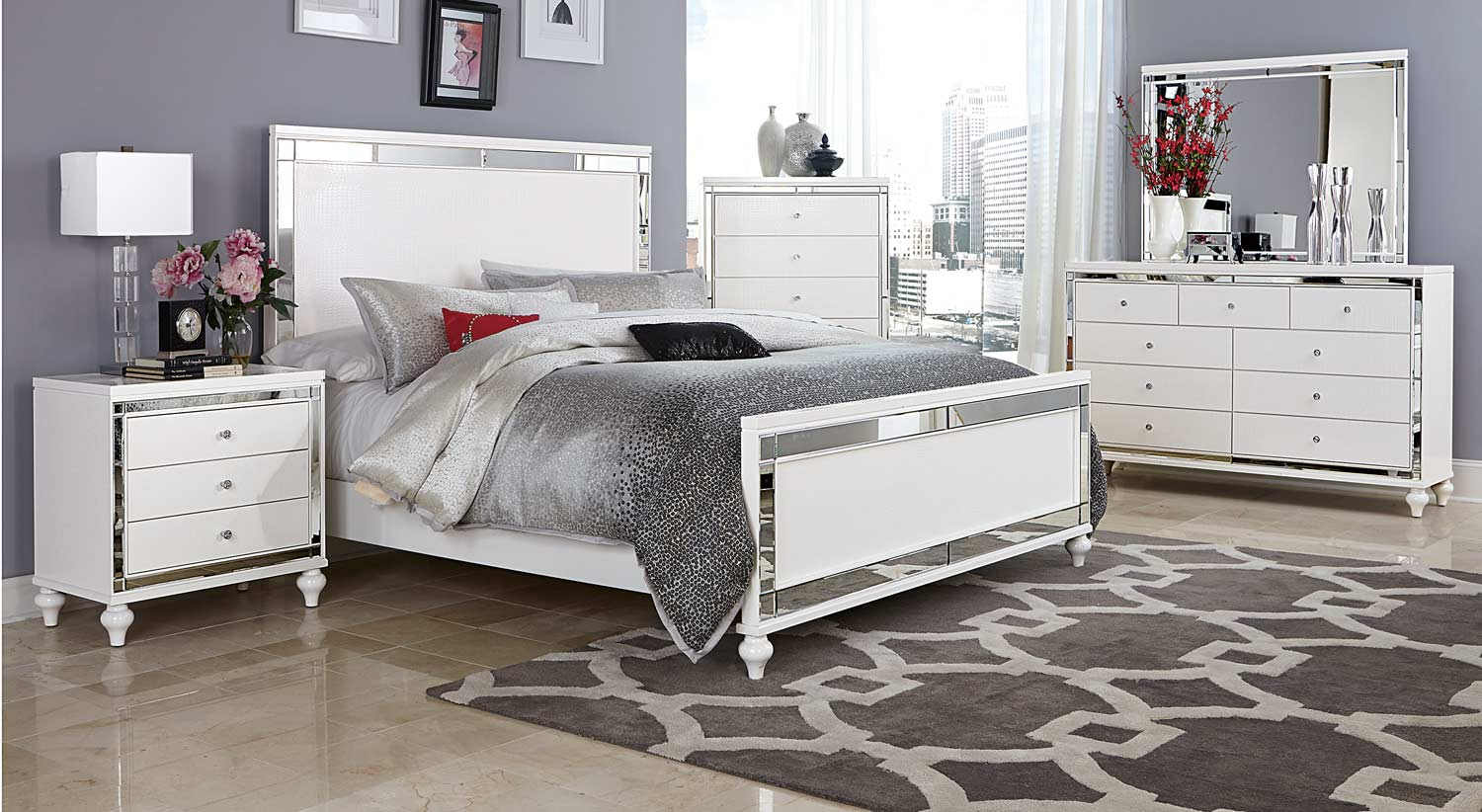 Homelegance Alonza 5pc Bright White King Bedroom Group Dallas TX ...