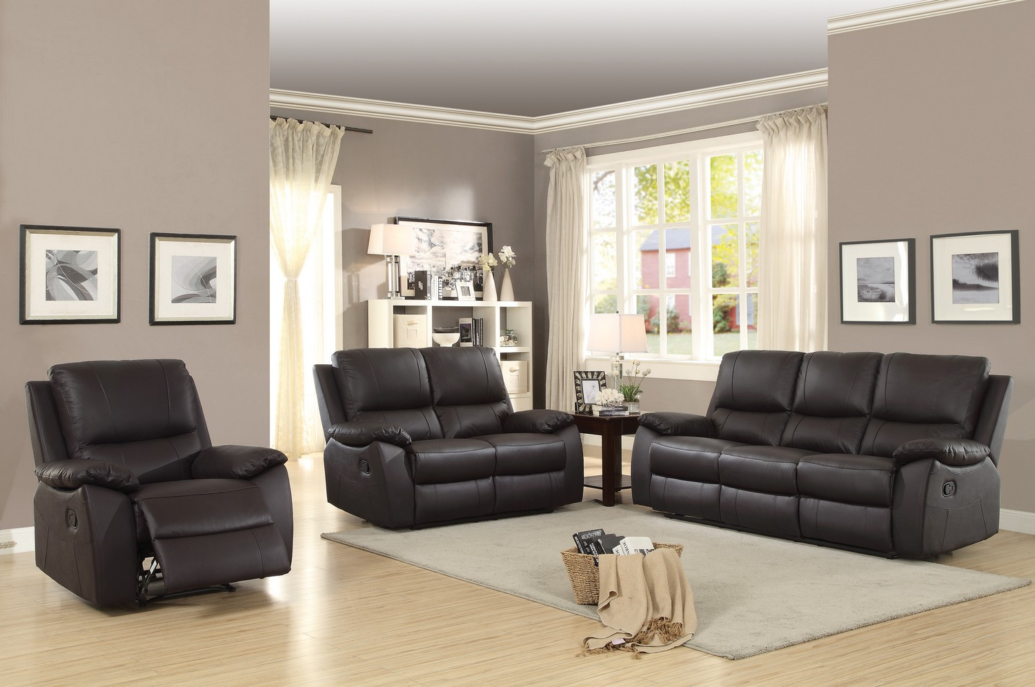 Fine Homelegance Greeley 2Pc Brown Double Reclining Sofa Loveseat Set Beutiful Home Inspiration Cosmmahrainfo