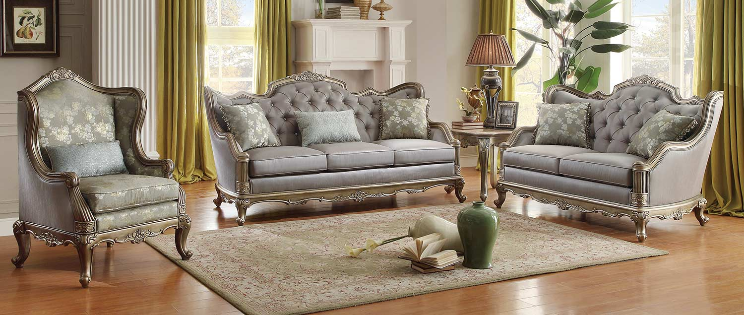 Homelegance Fiorella 2pc Dusky Taupe Sofa Loveseat Set